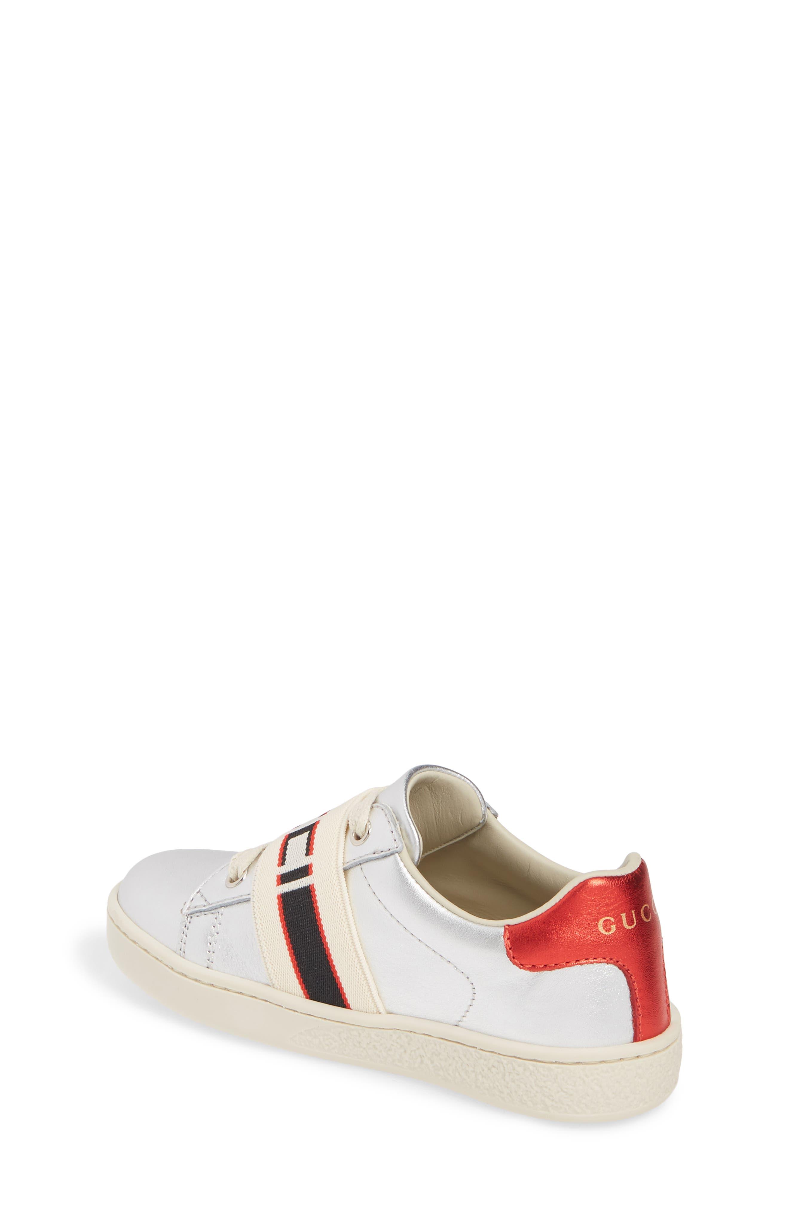 GUCCI, New Ace Stripe Sneaker, Alternate thumbnail 2, color, SILVER