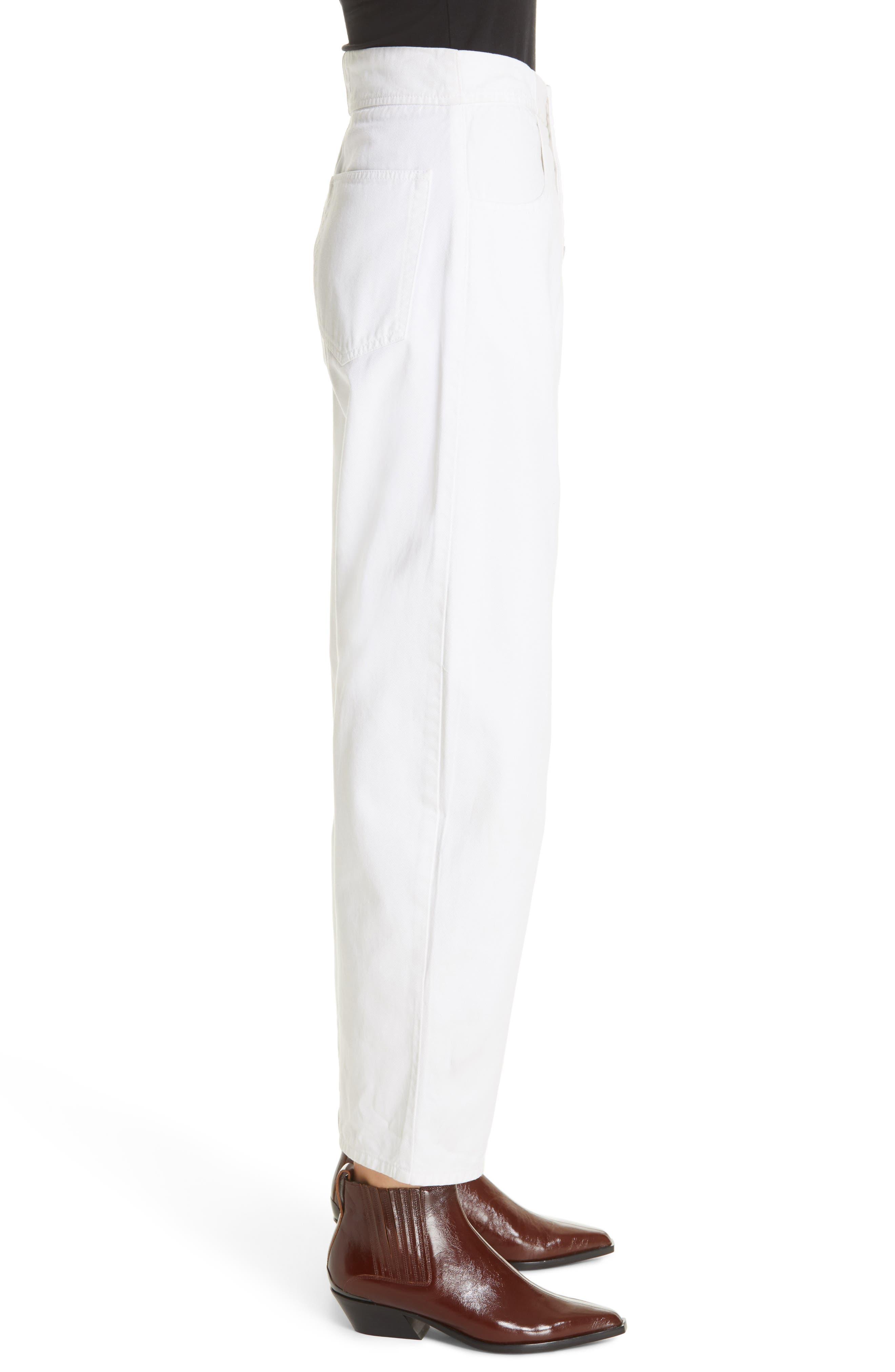 NILI LOTAN, Toledo Crop Cotton Pants, Alternate thumbnail 4, color, VINTAGE WHITE