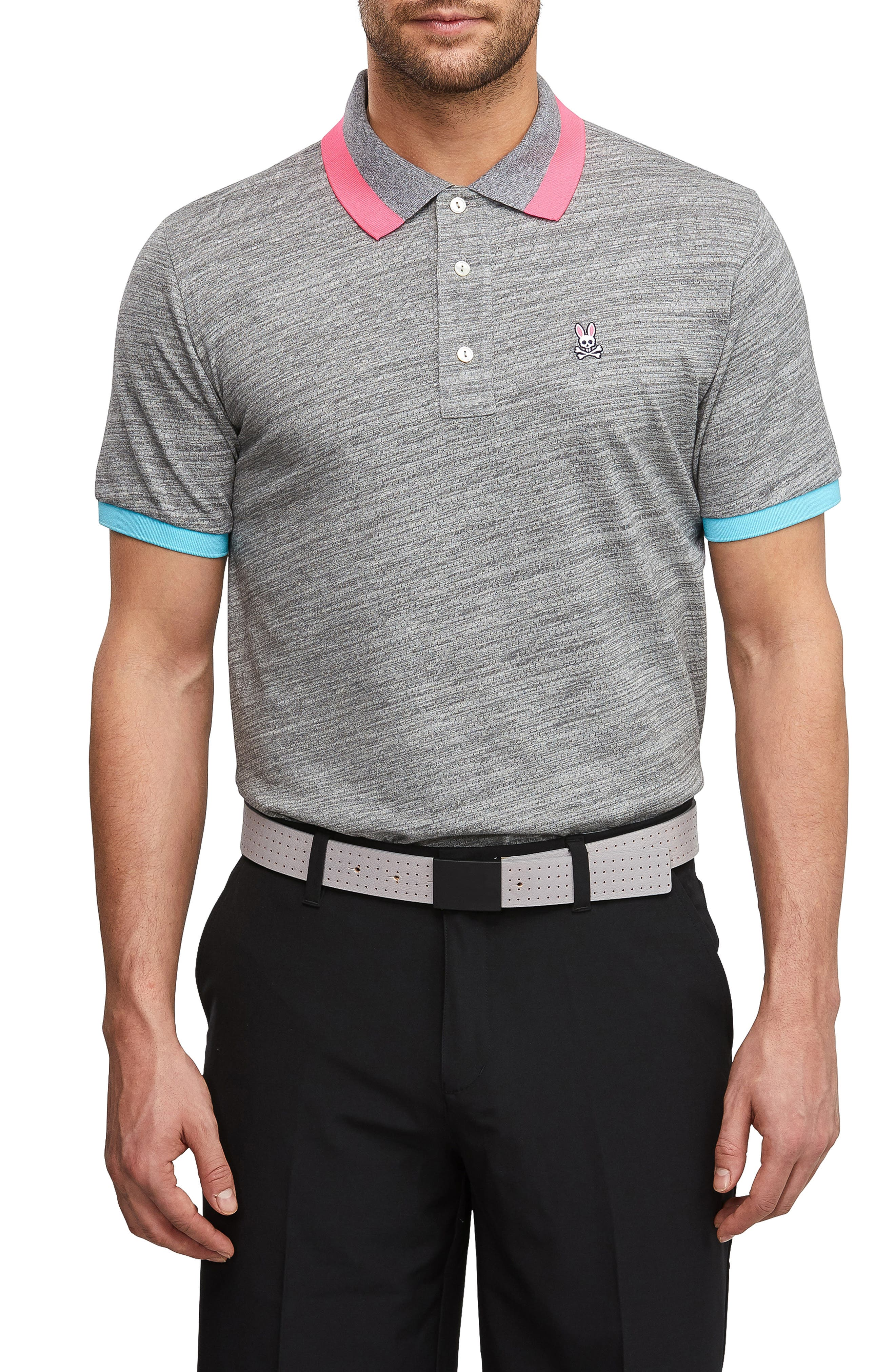 PSYCHO BUNNY, Sport Alderley Perforated Polo, Main thumbnail 1, color, HEATHER GREY