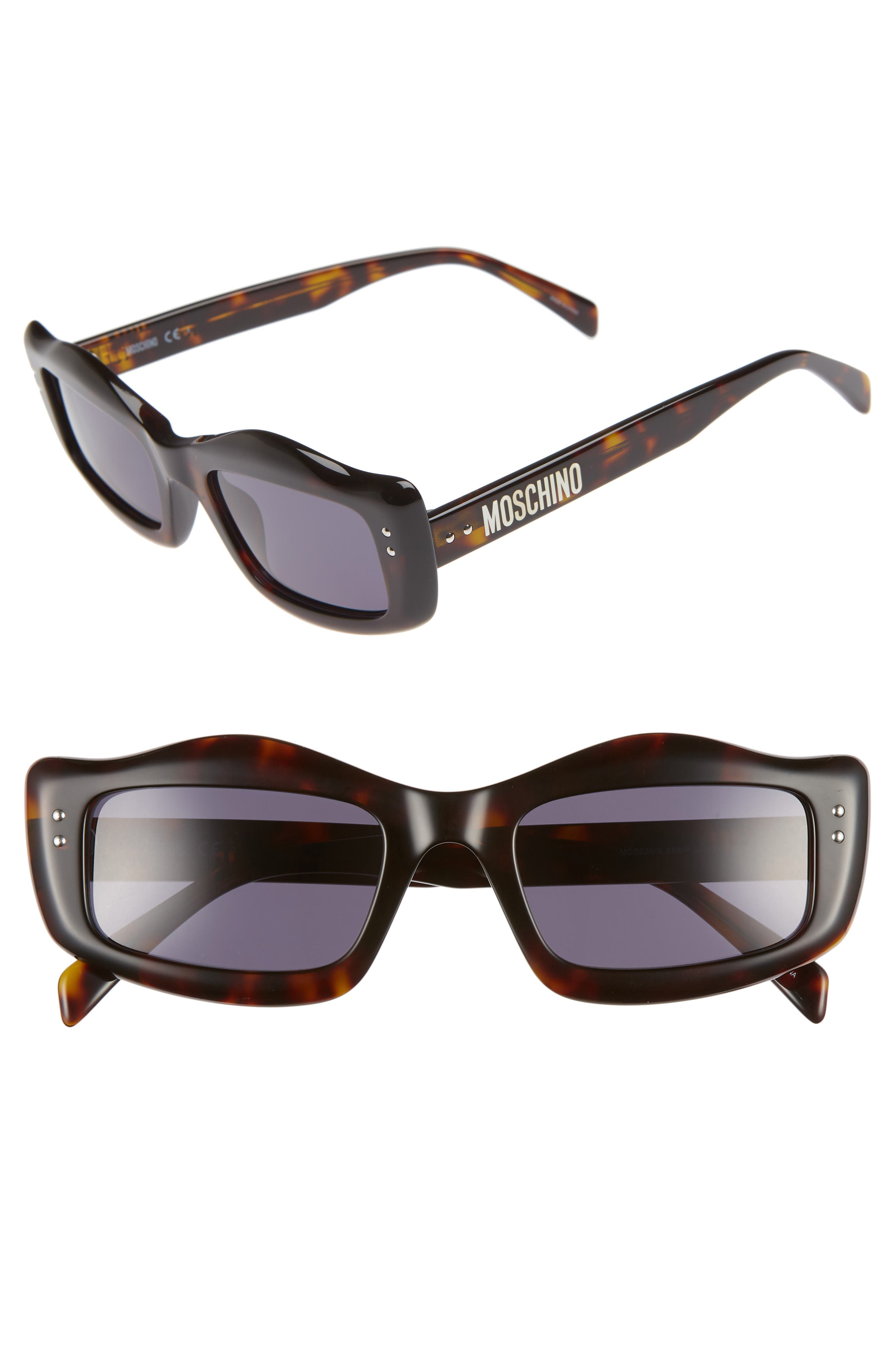 MOSCHINO 51mm Rectangle Sunglasses, Main, color, DARK HAVANA