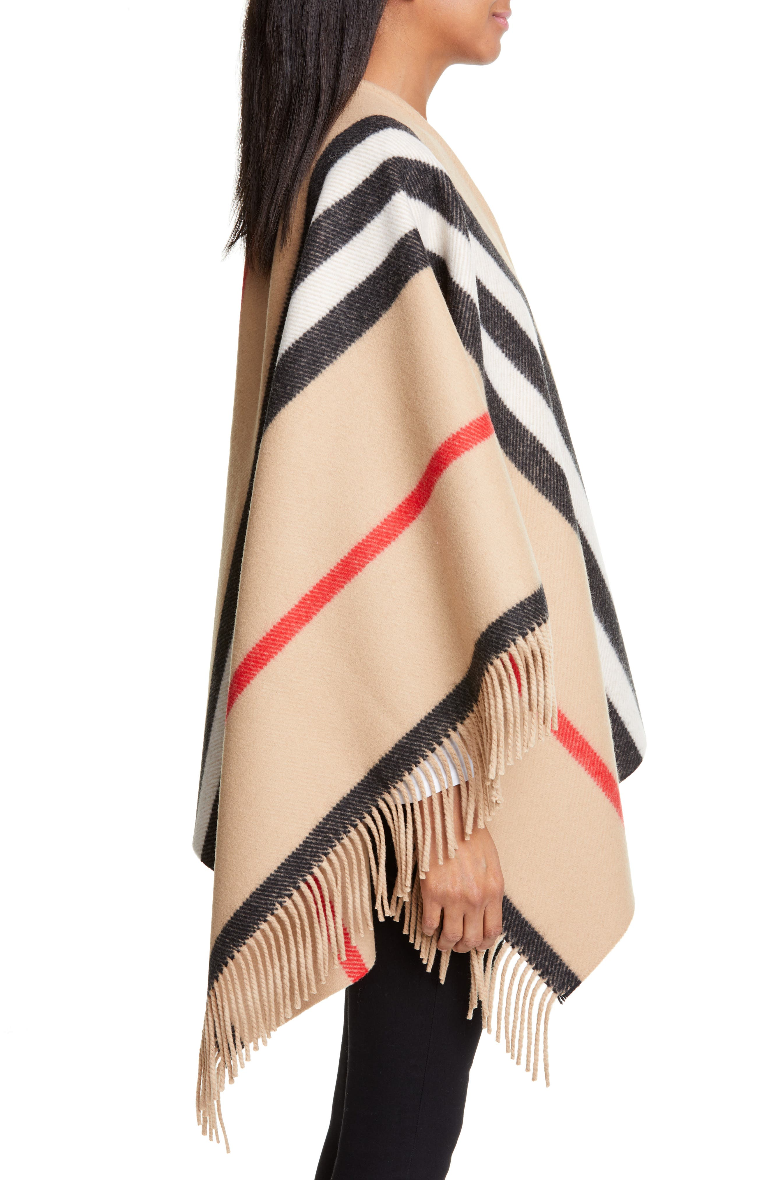 BURBERRY, Stripe Fringe Wool Cape, Alternate thumbnail 3, color, CAMEL