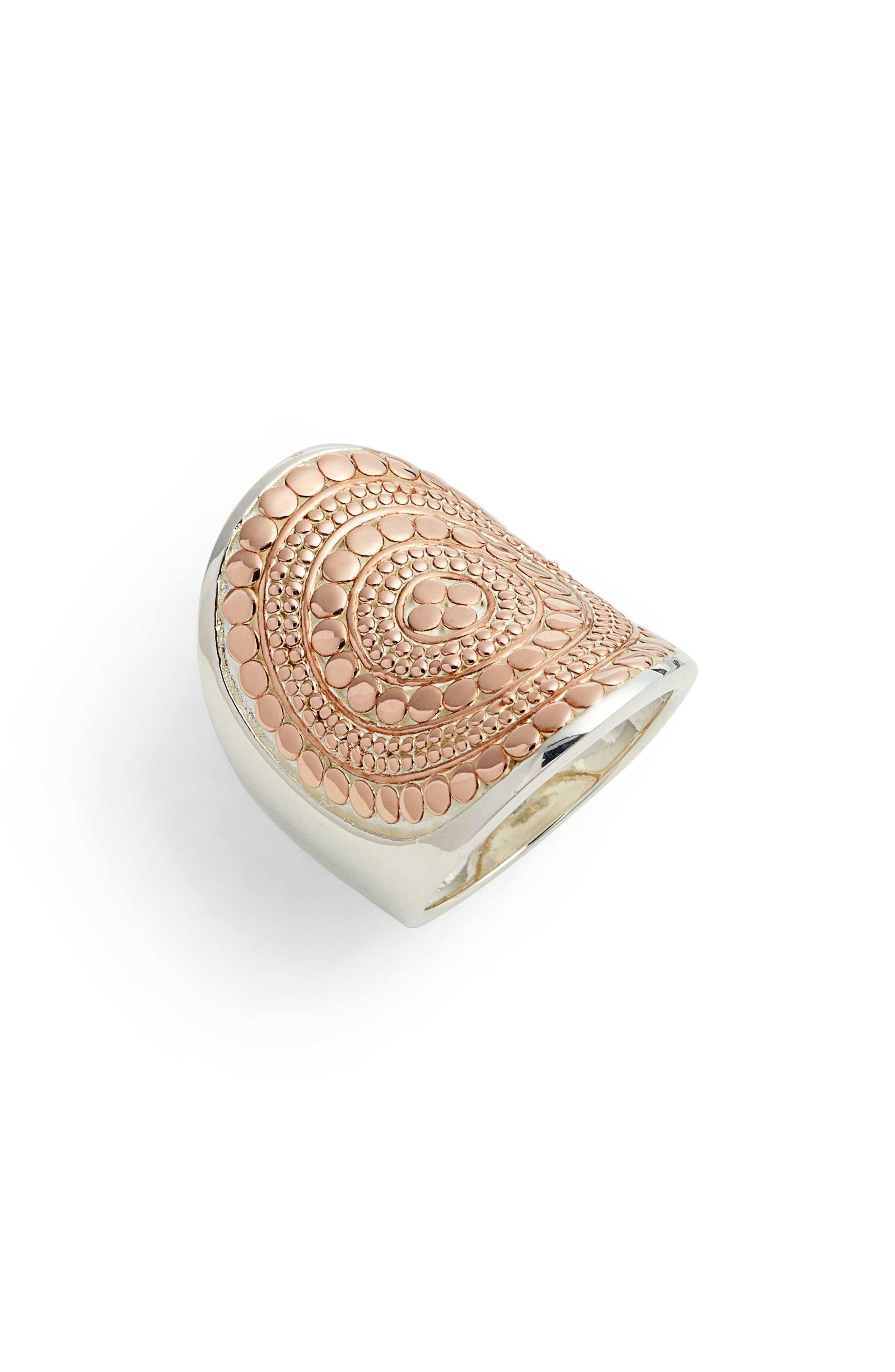 ANNA BECK, Saddle Ring, Main thumbnail 1, color, ROSE GOLD/ SILVER