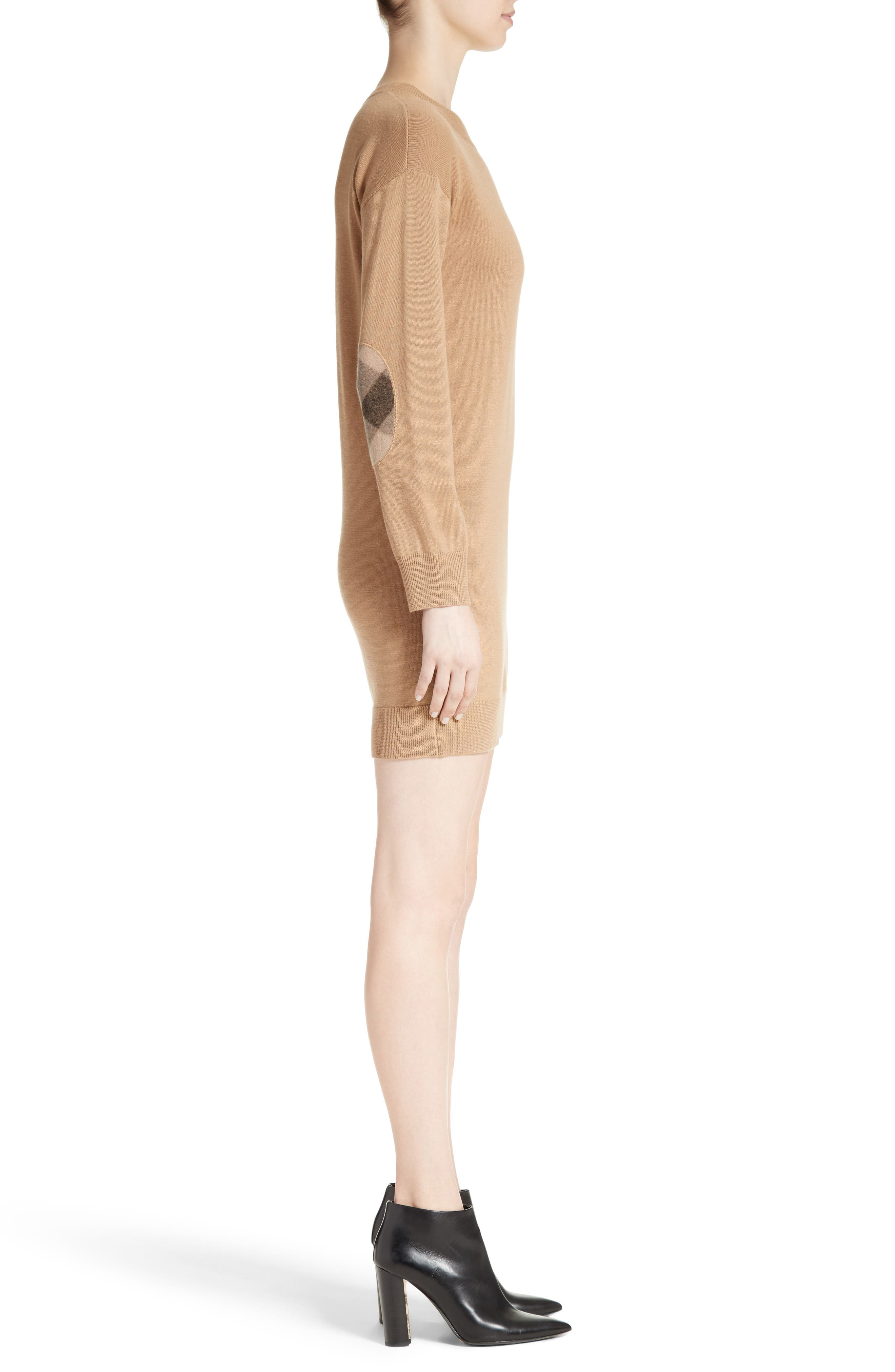 BURBERRY, Alewater Elbow Patch Merino Wool Dress, Alternate thumbnail 4, color, CAMEL