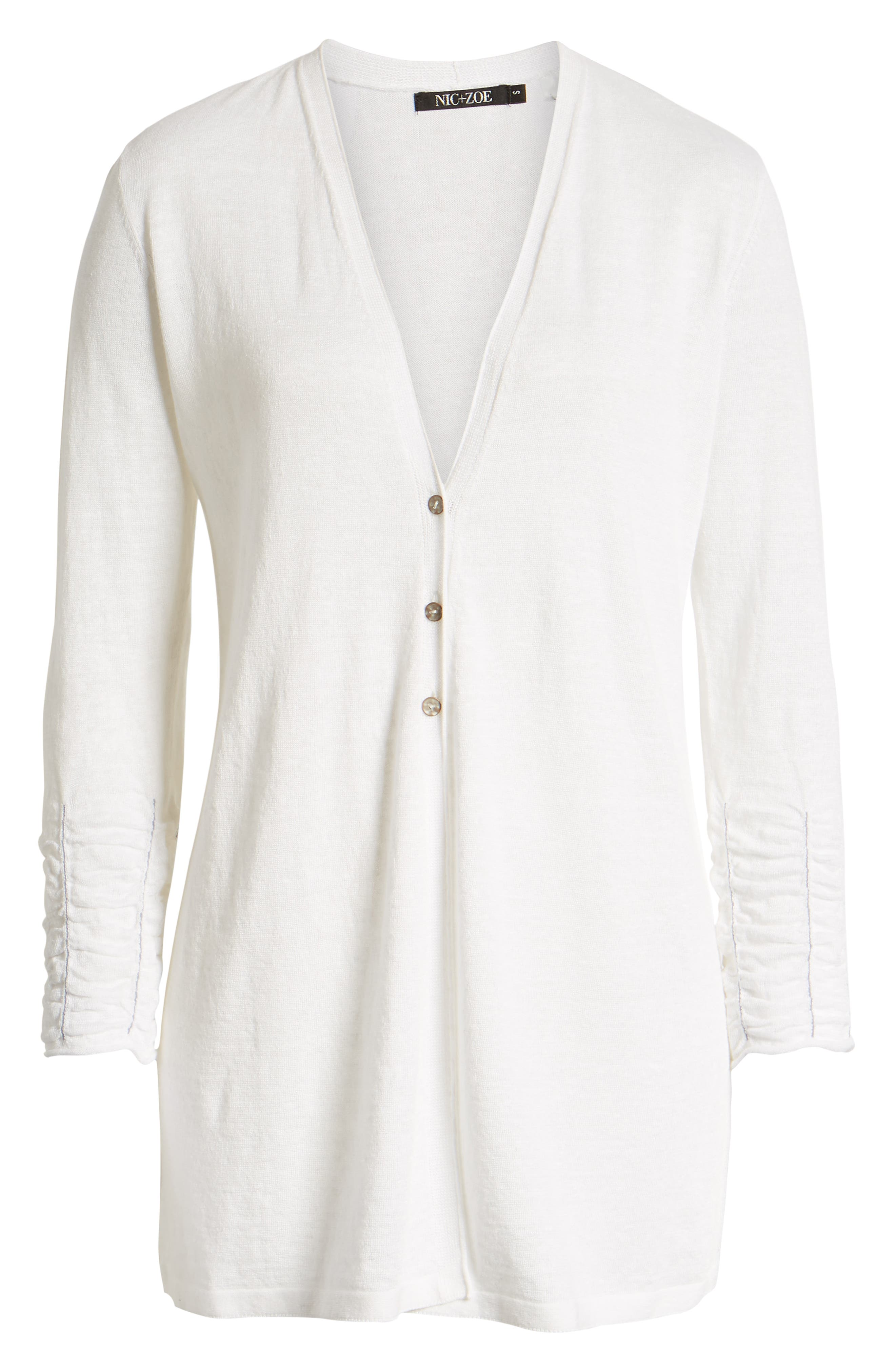 NIC+ZOE, Ruched Sleeve Cardigan, Alternate thumbnail 6, color, PAPER WHITE