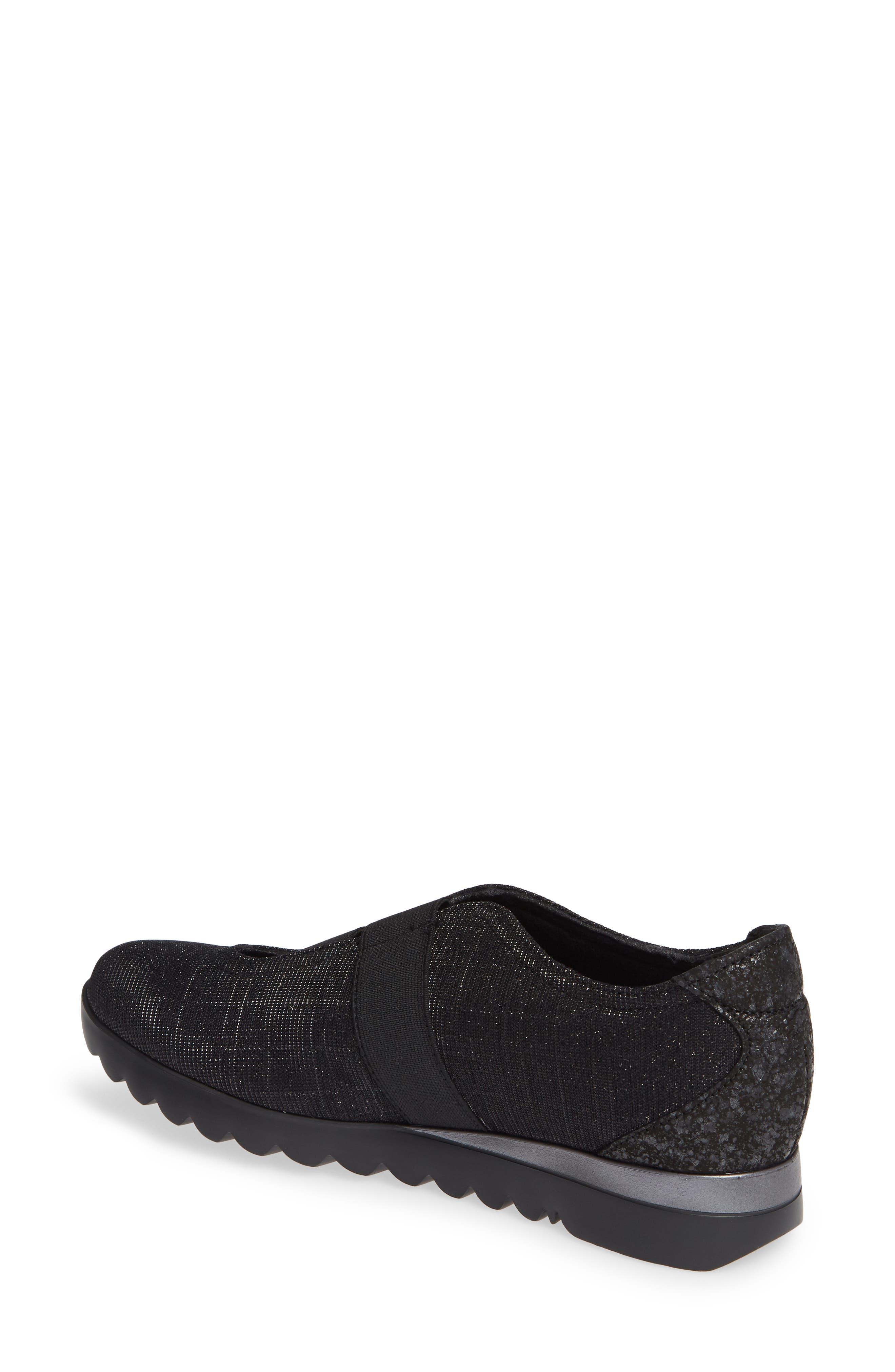 MUNRO, Alta Slip-On Sneaker, Alternate thumbnail 2, color, BLACK SPARKLE FABRIC