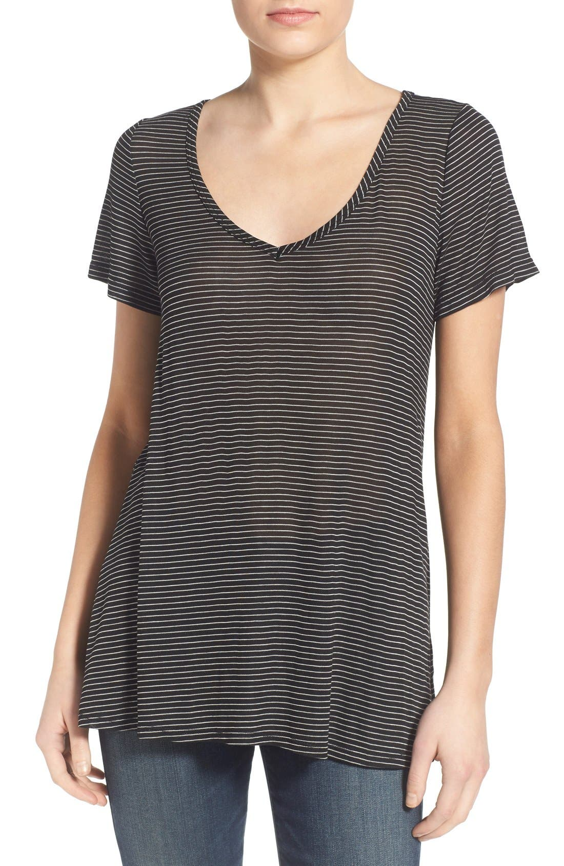 SOCIALITE Stripe Back Cutout Tee, Main, color, 003