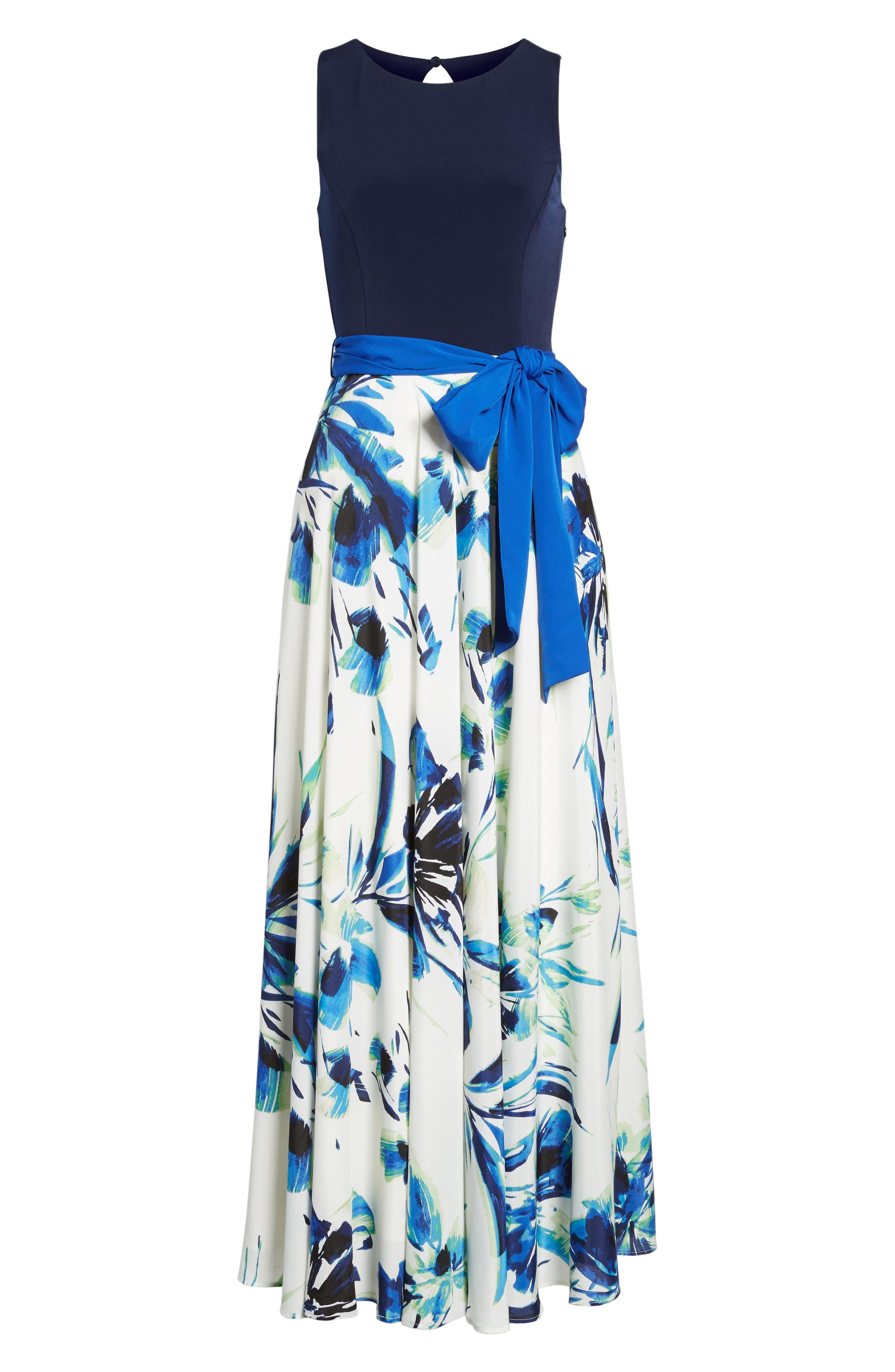 ELIZA J, Jersey & Crêpe de Chine Maxi Dress, Alternate thumbnail 6, color, 421