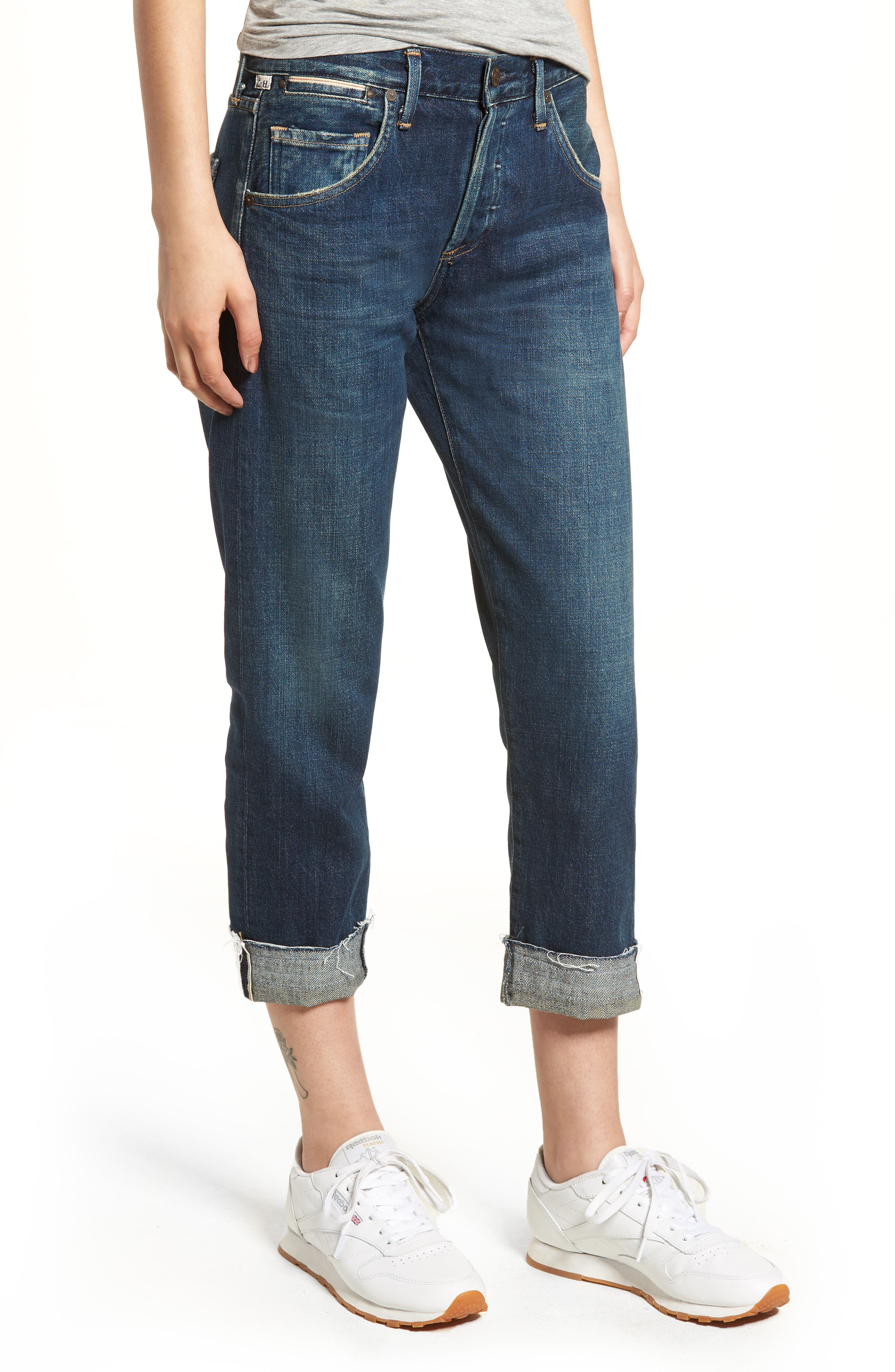 CITIZENS OF HUMANITY Emerson Crop Slim Boyfriend Jeans, Main, color, WHITAKER