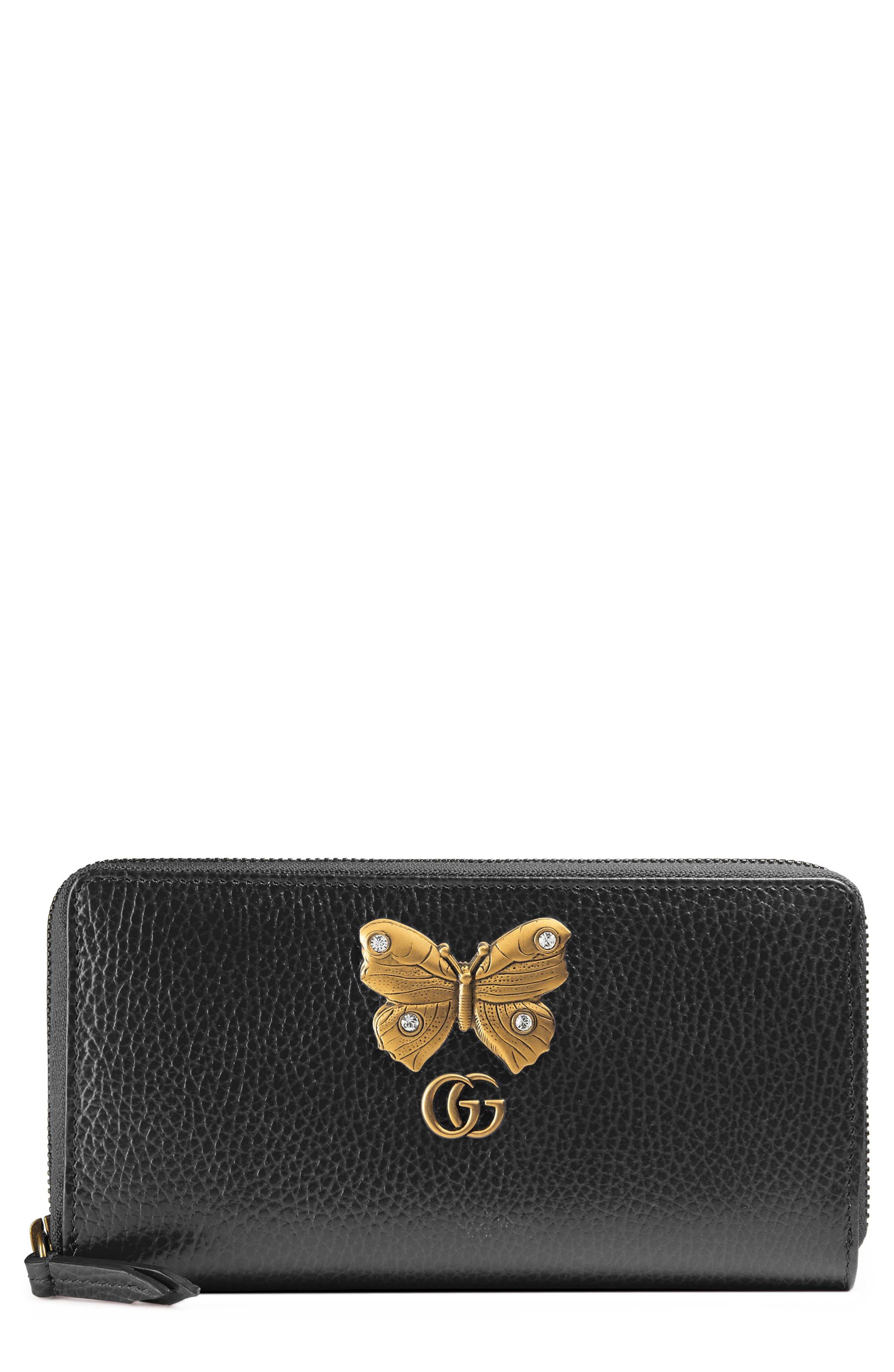 GUCCI Farfalla Zip Around Leather Wallet, Main, color, NERO/ CRYSTAL