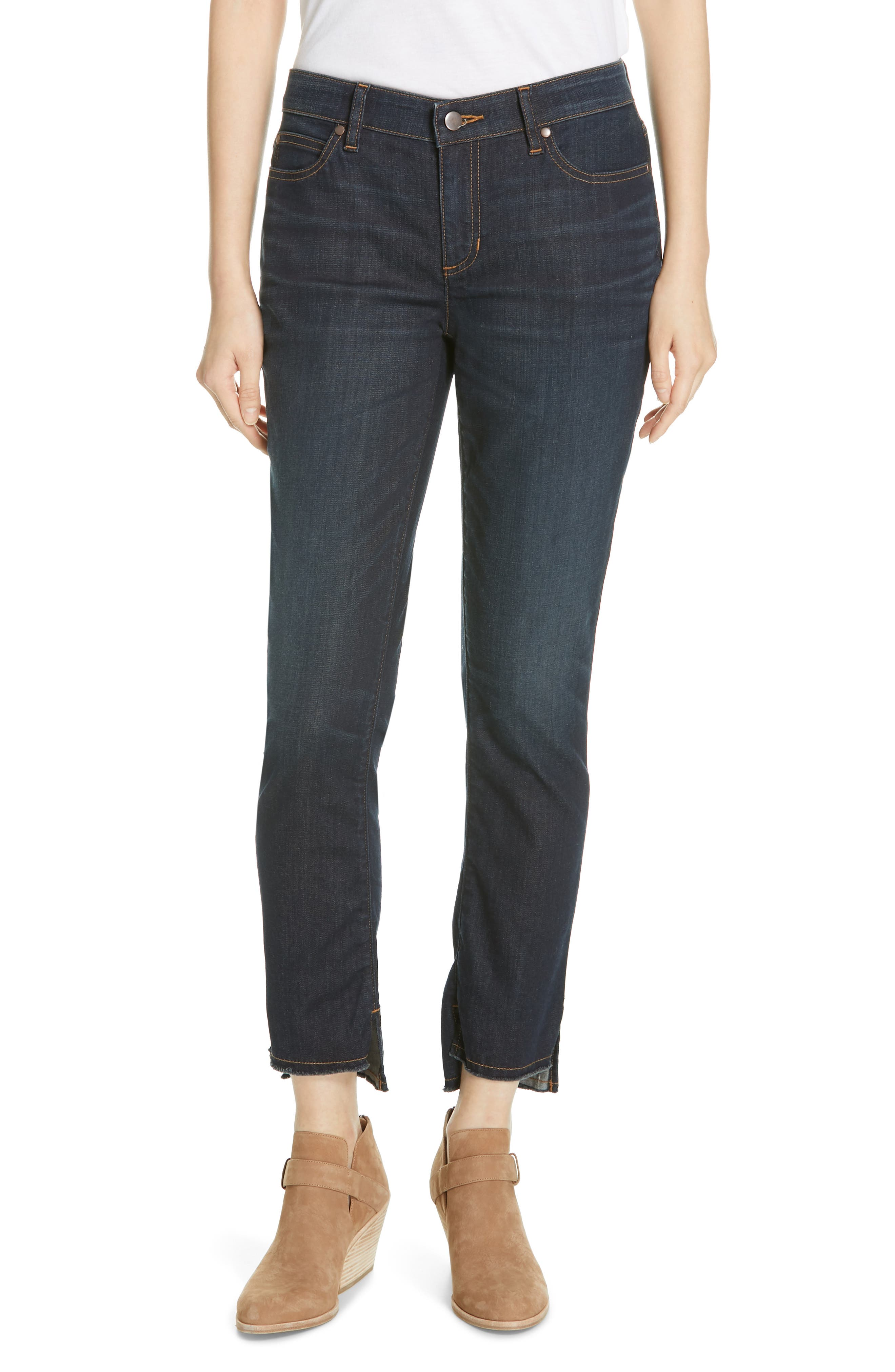 EILEEN FISHER, Raw Step Hem Slim Ankle Jeans, Main thumbnail 1, color, UTILITY BLUE