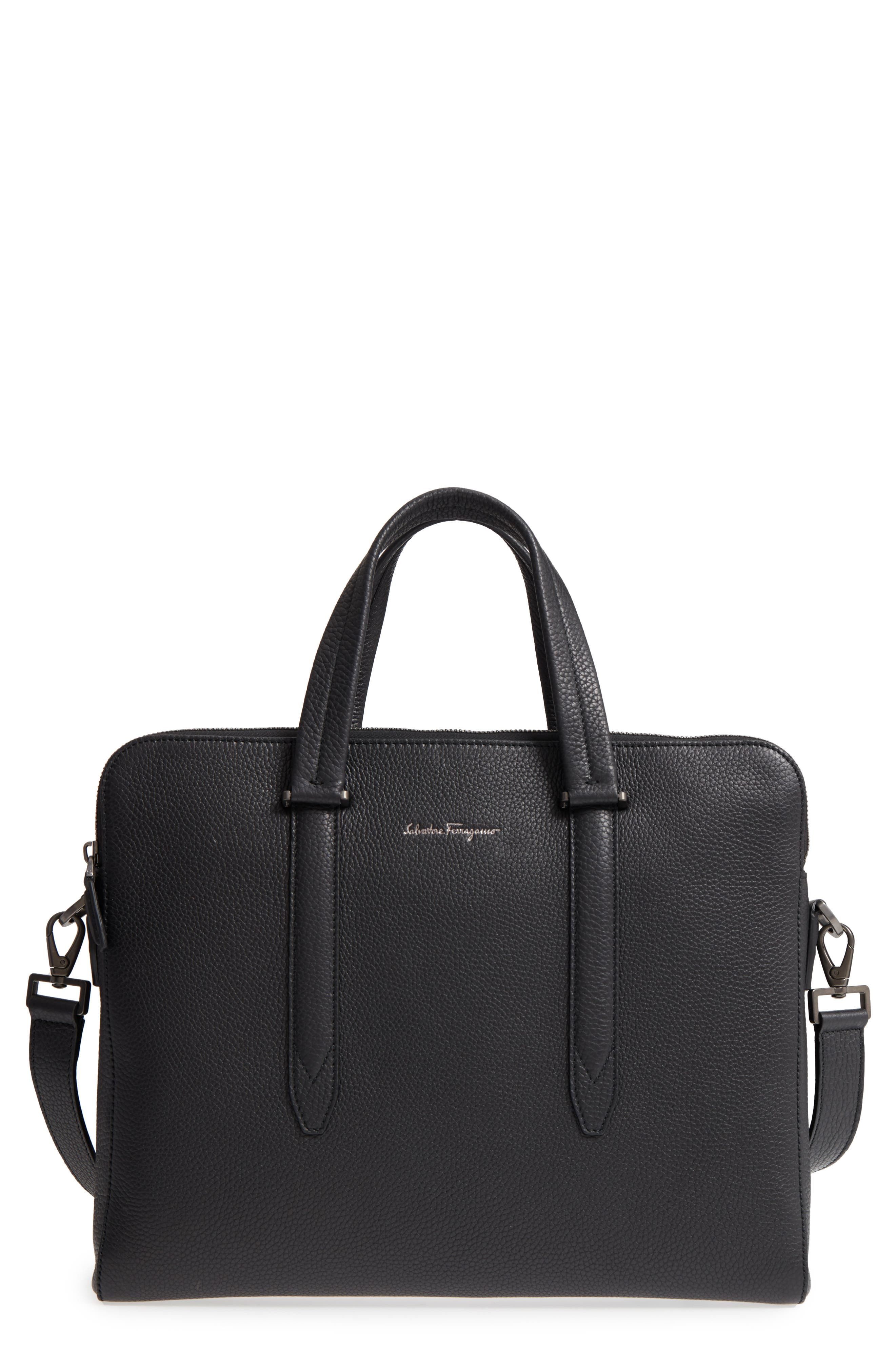 SALVATORE FERRAGAMO Firenze Leather Briefcase, Main, color, 001