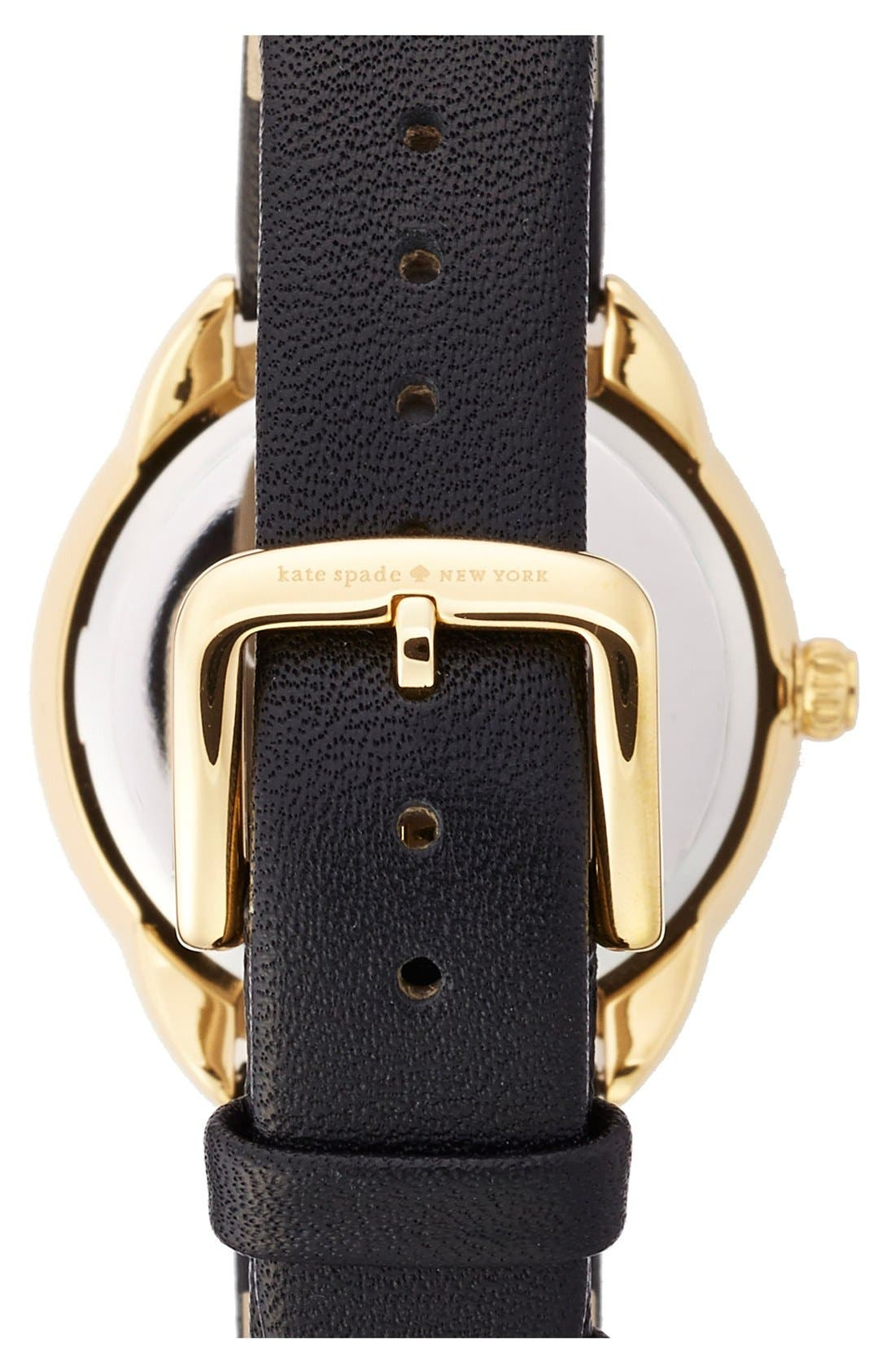 KATE SPADE NEW YORK, 'crosstown' leather strap watch, 34mm, Alternate thumbnail 2, color, 001