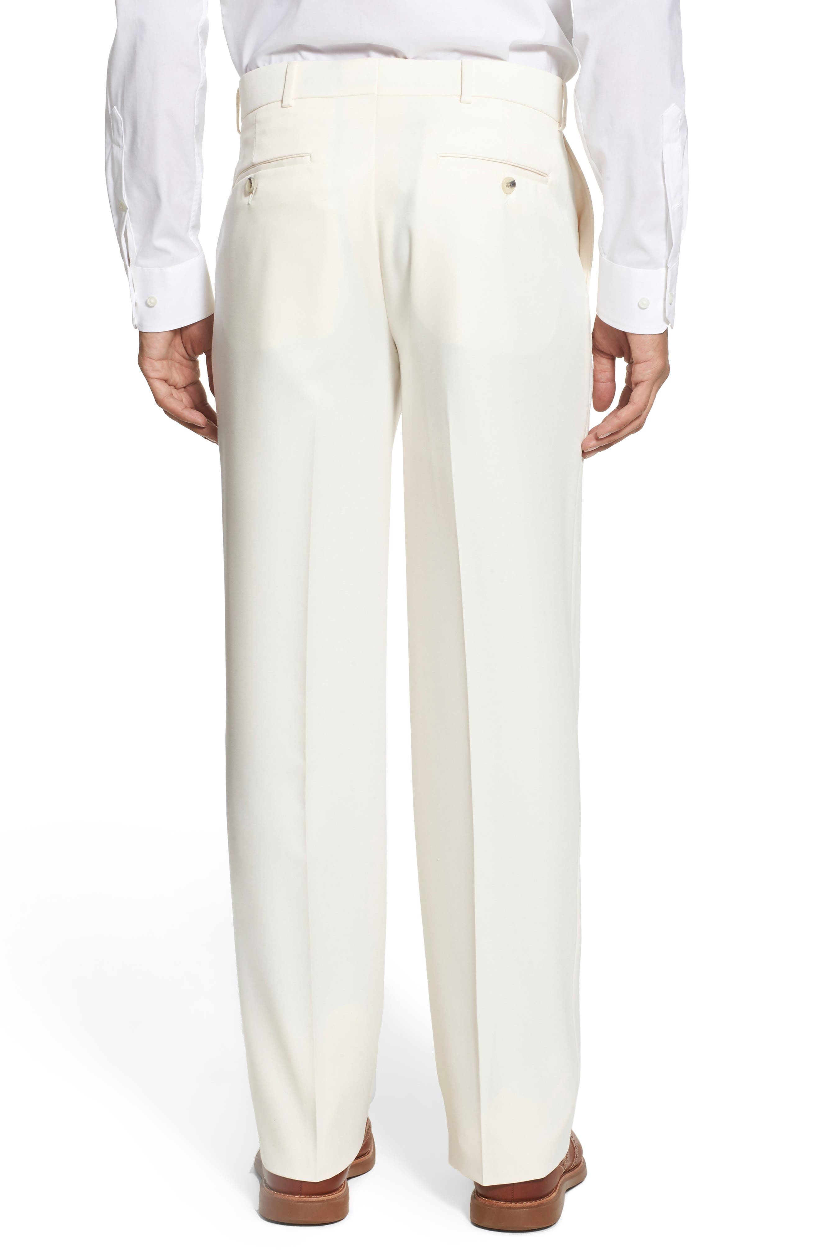 BALLIN, Regular Fit Flat Front Trousers, Alternate thumbnail 3, color, OYSTER