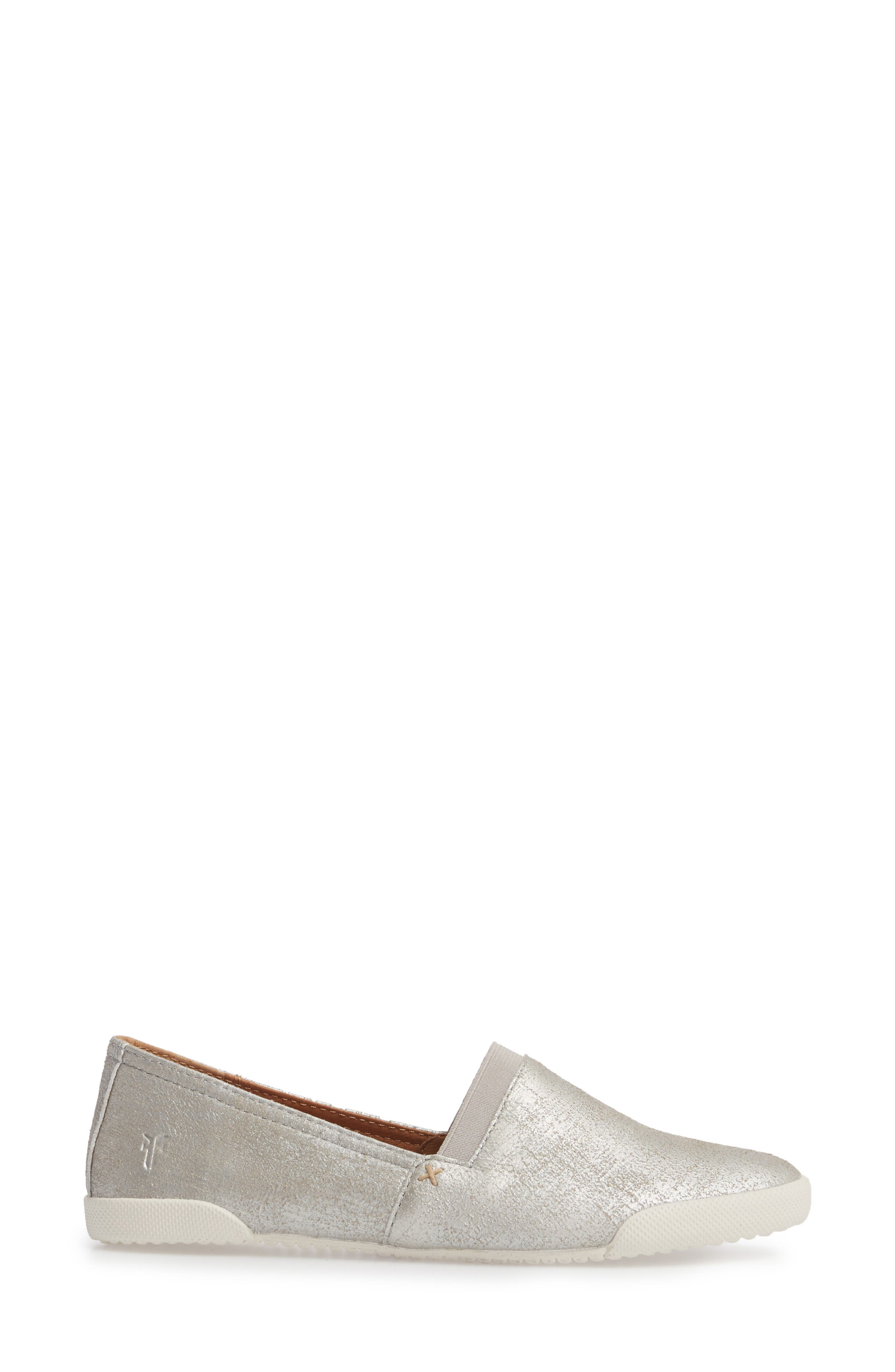 FRYE, 'Melanie' Slip-On, Alternate thumbnail 3, color, SILVER