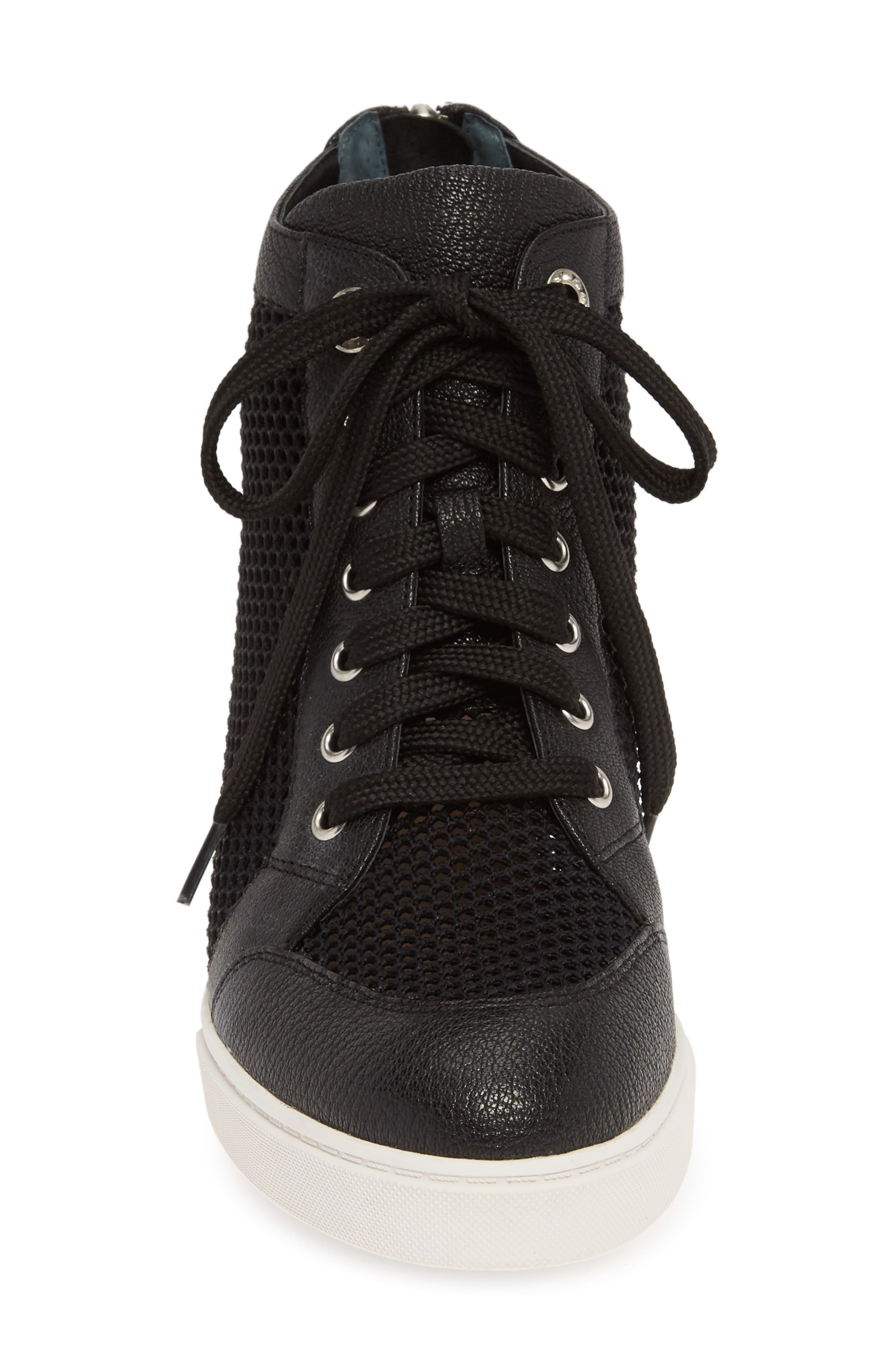 LINEA PAOLO, Finian Mesh Wedge Sneaker Bootie, Alternate thumbnail 4, color, BLACK LEATHER
