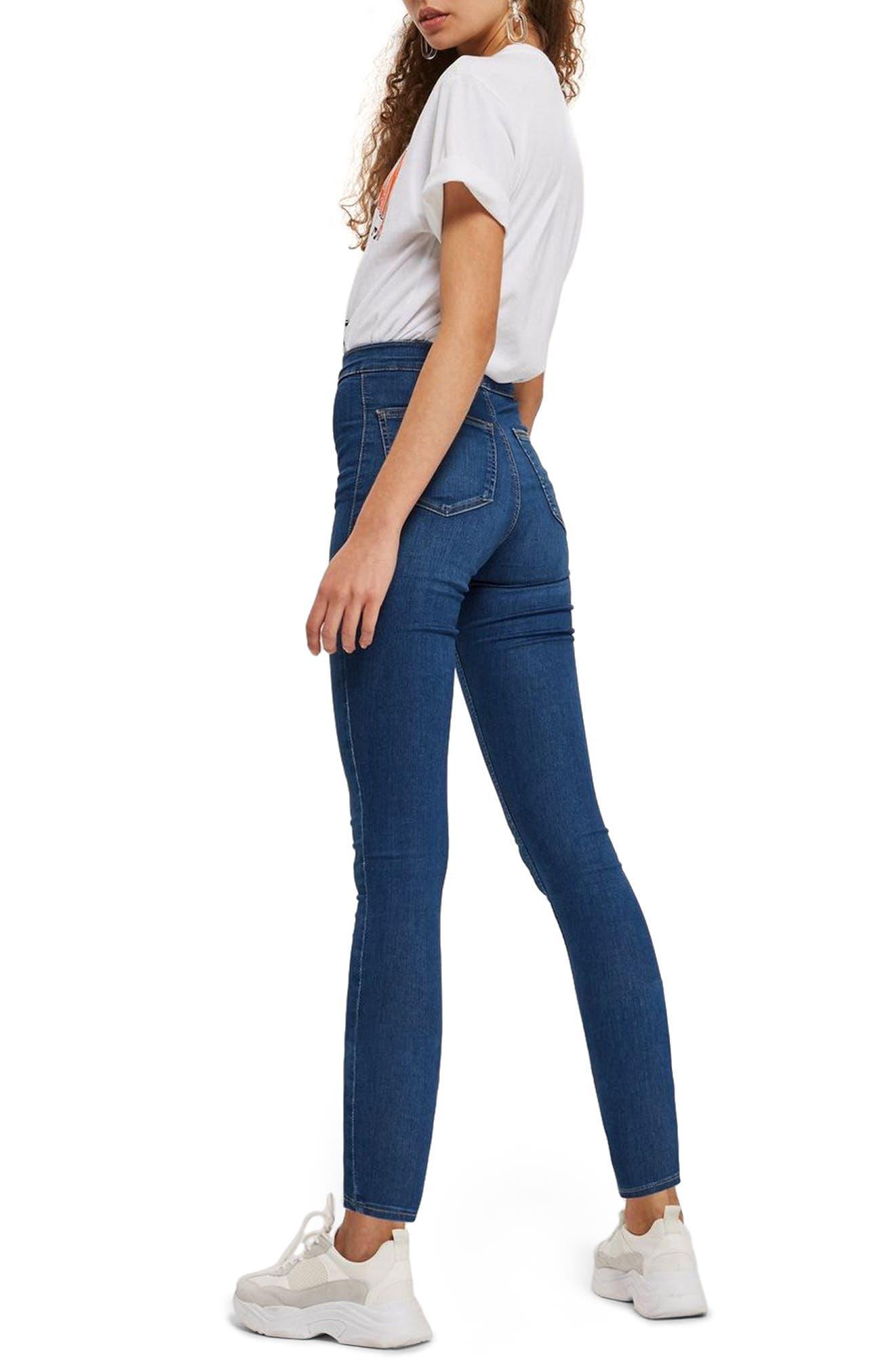 TOPSHOP, Moto Joni Skinny Jeans, Alternate thumbnail 2, color, BLUE