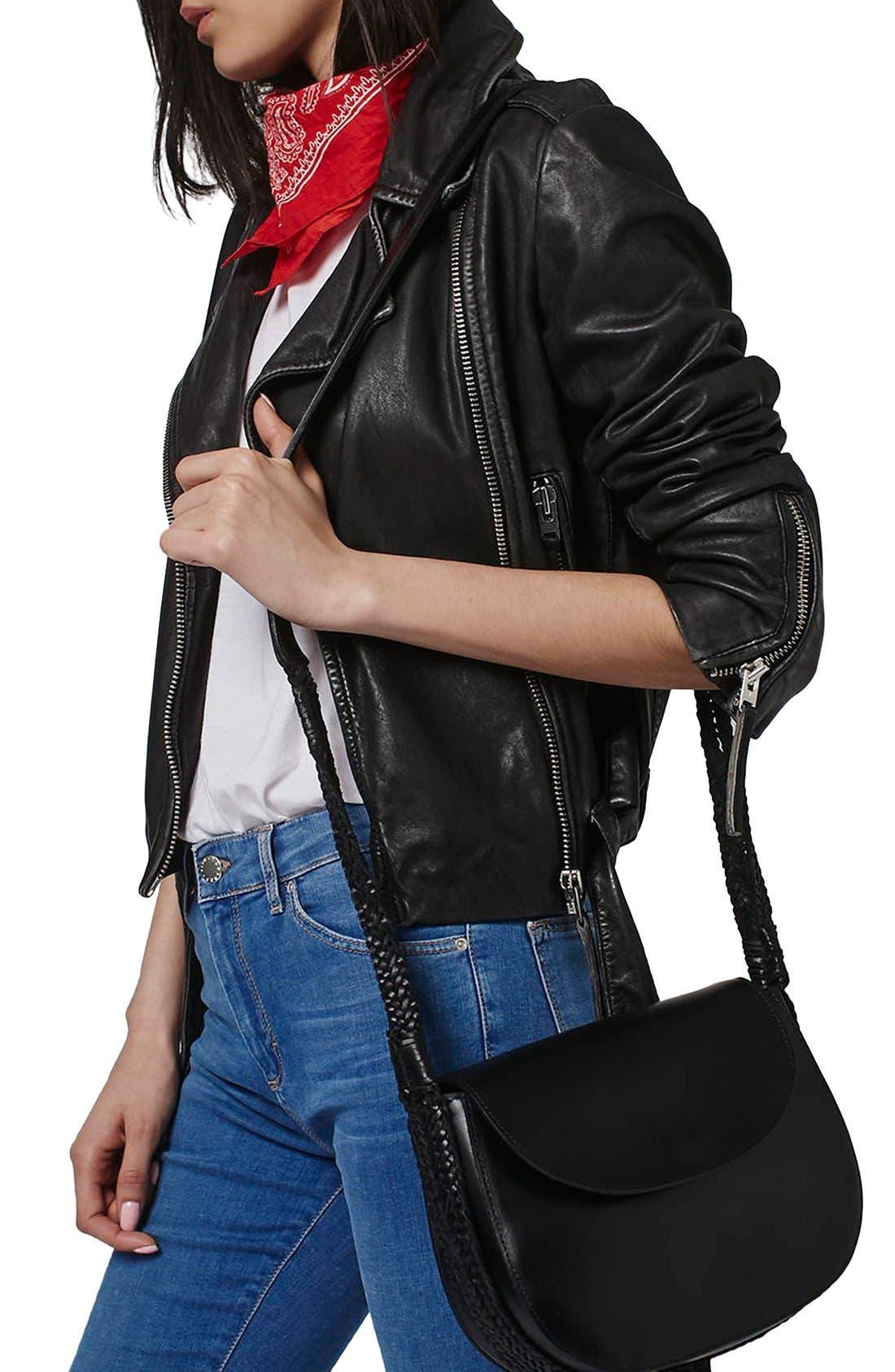 TOPSHOP, Woven Strap Leather Saddle Bag, Alternate thumbnail 3, color, 001