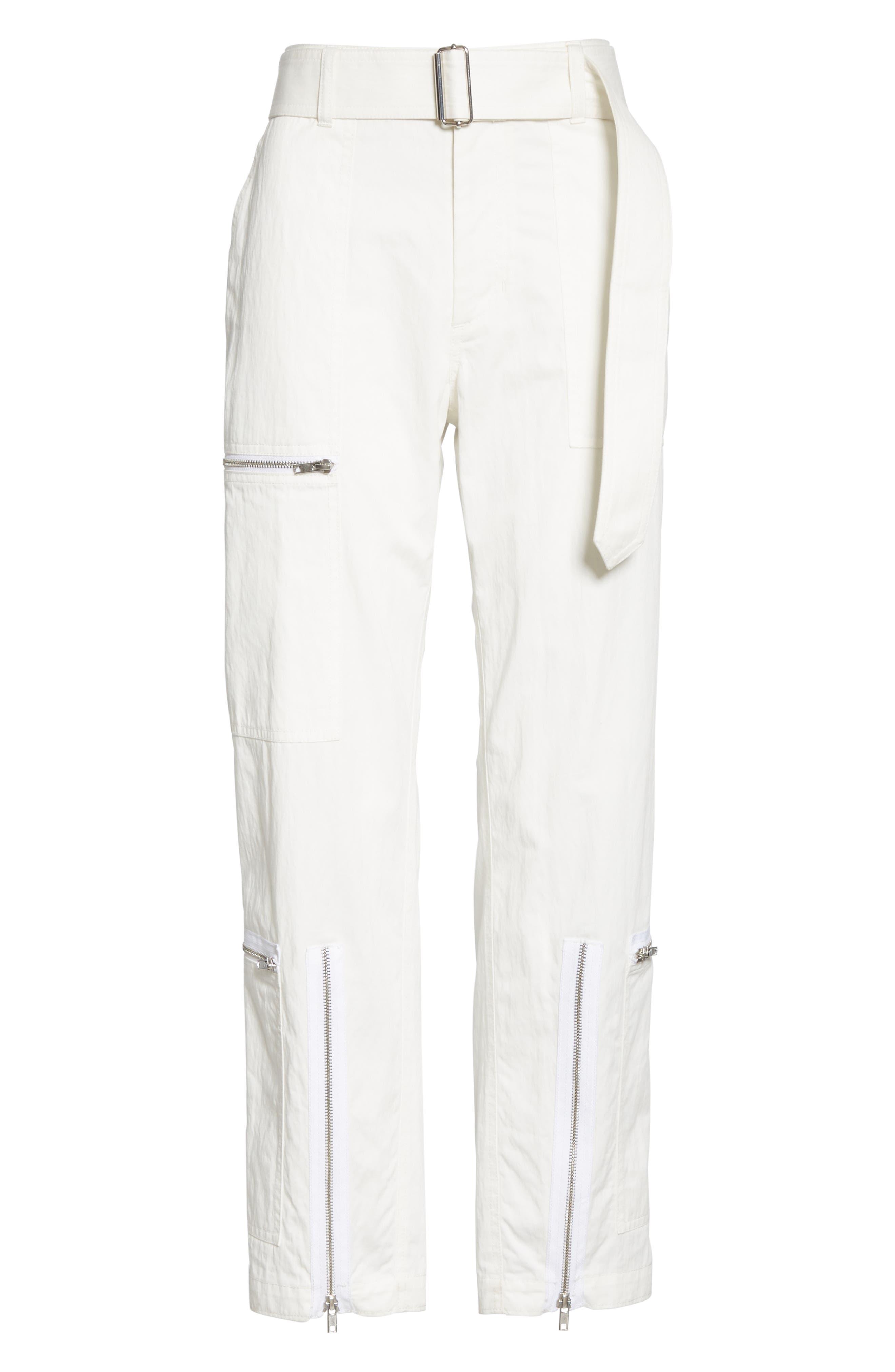 HELMUT LANG, Flight Pants, Alternate thumbnail 7, color, WHITE