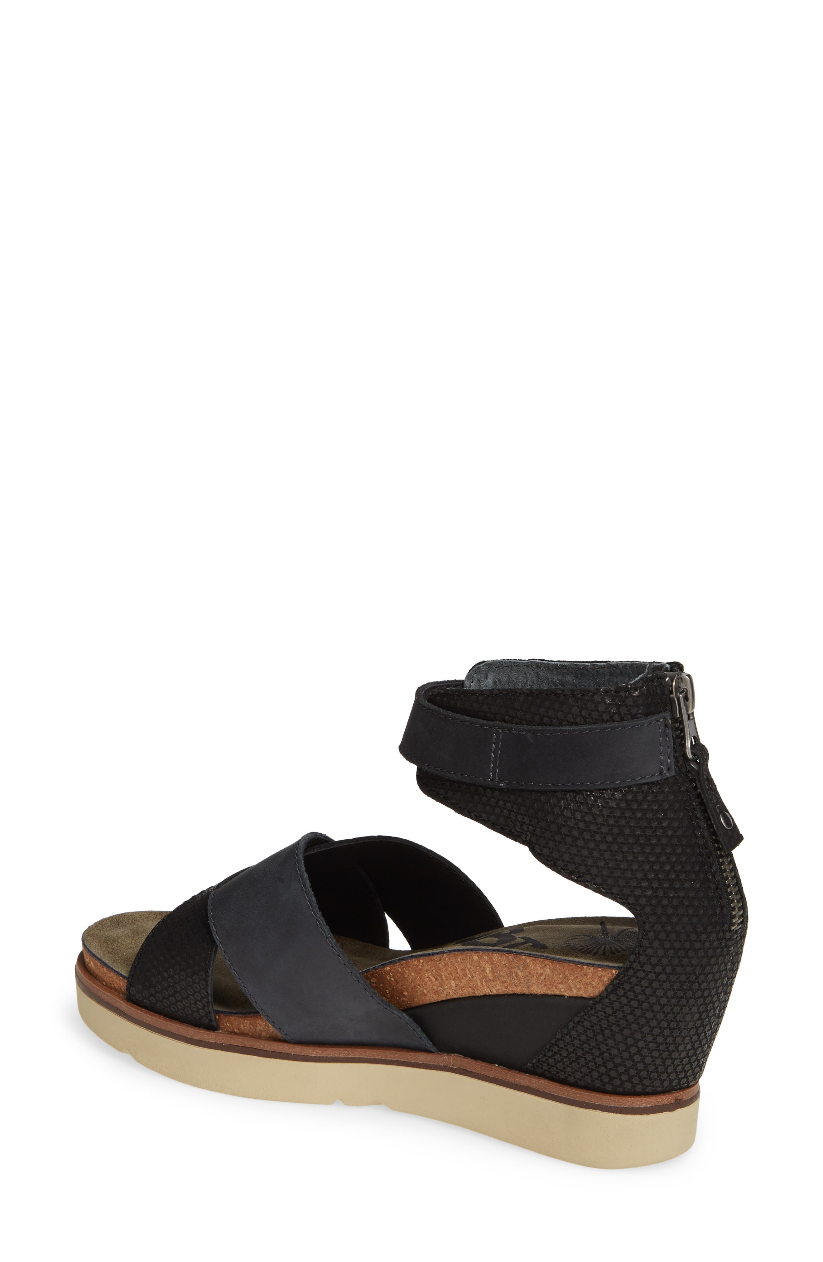 OTBT, Teamwork Ankle Strap Sandal, Alternate thumbnail 2, color, BLACK LEATHER