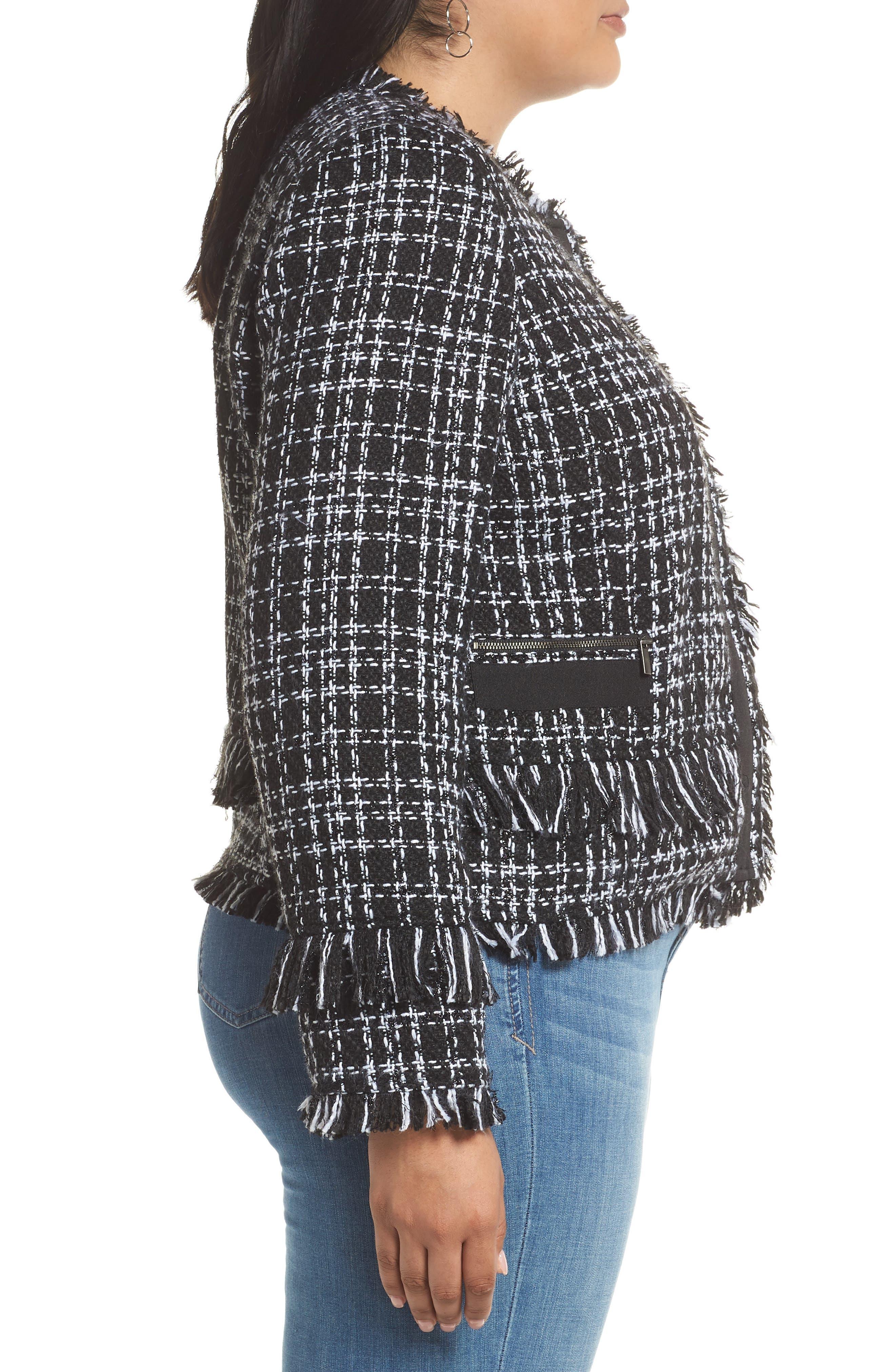 HALOGEN<SUP>®</SUP>, Tweed Fringe Jacket, Alternate thumbnail 4, color, BLACK- WHITE TWEED