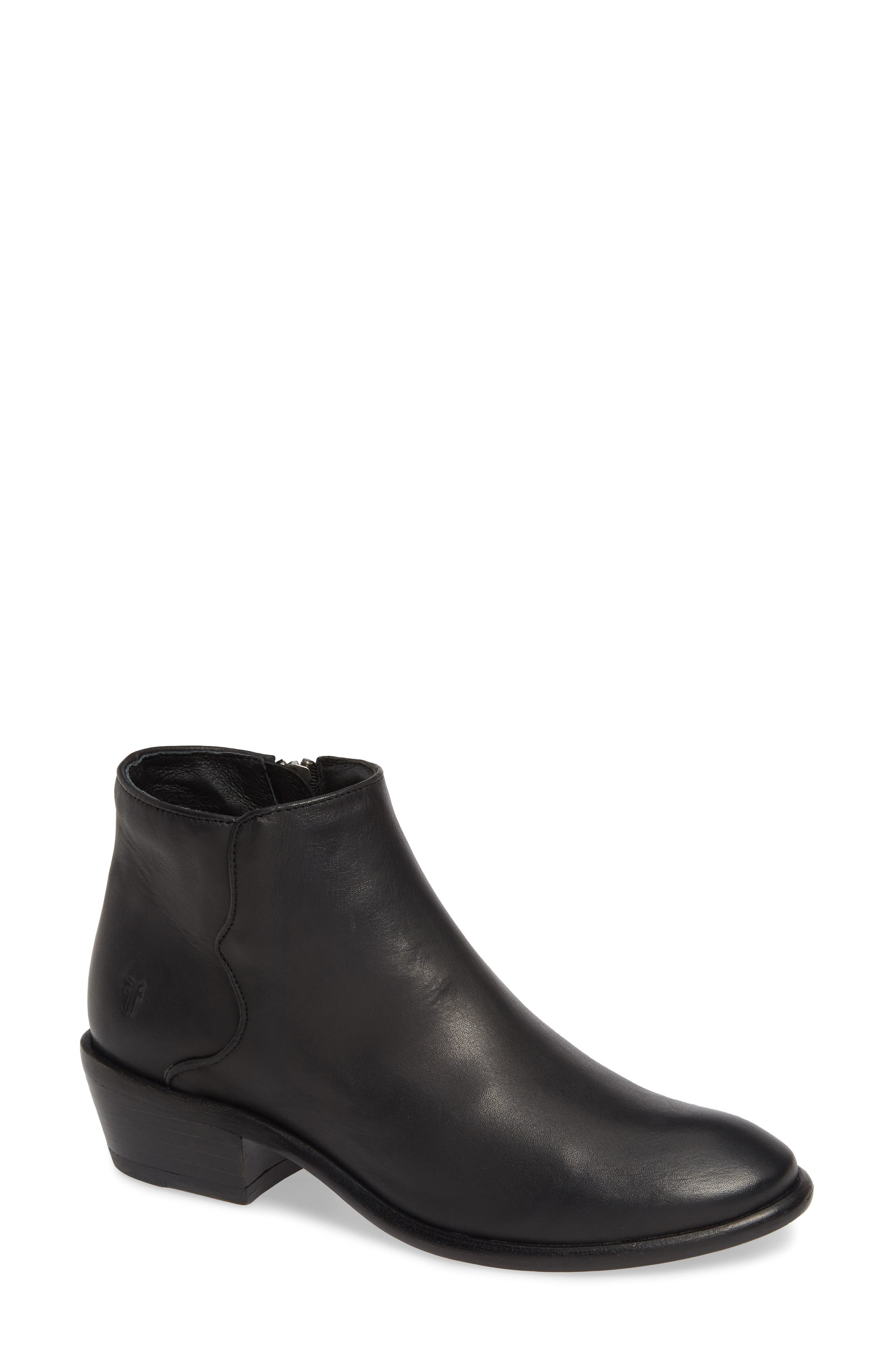 FRYE Carson Piping Bootie, Main, color, BLACK