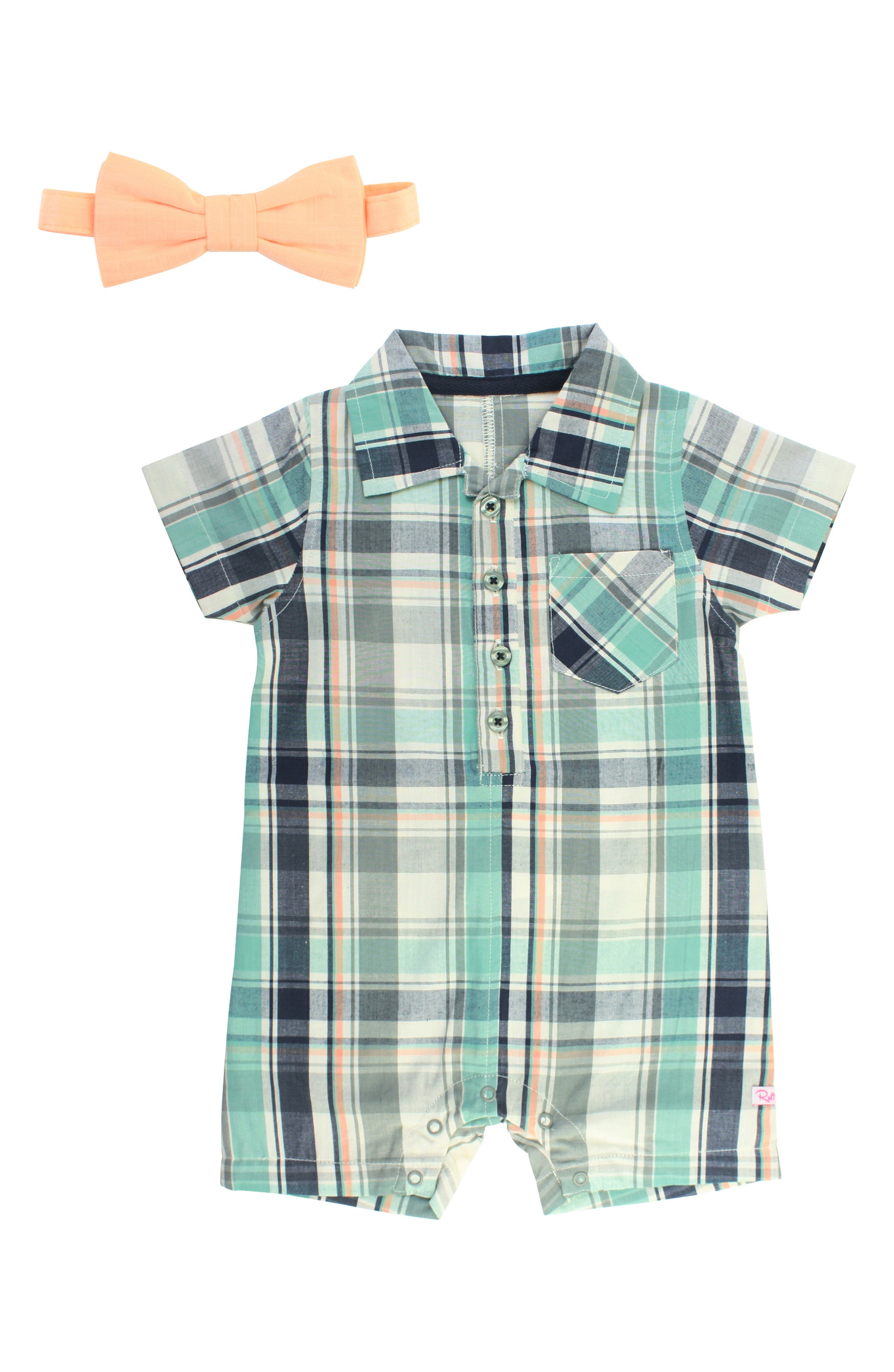 RUGGEDBUTTS Plaid Romper & Bow Tie Set, Main, color, 400