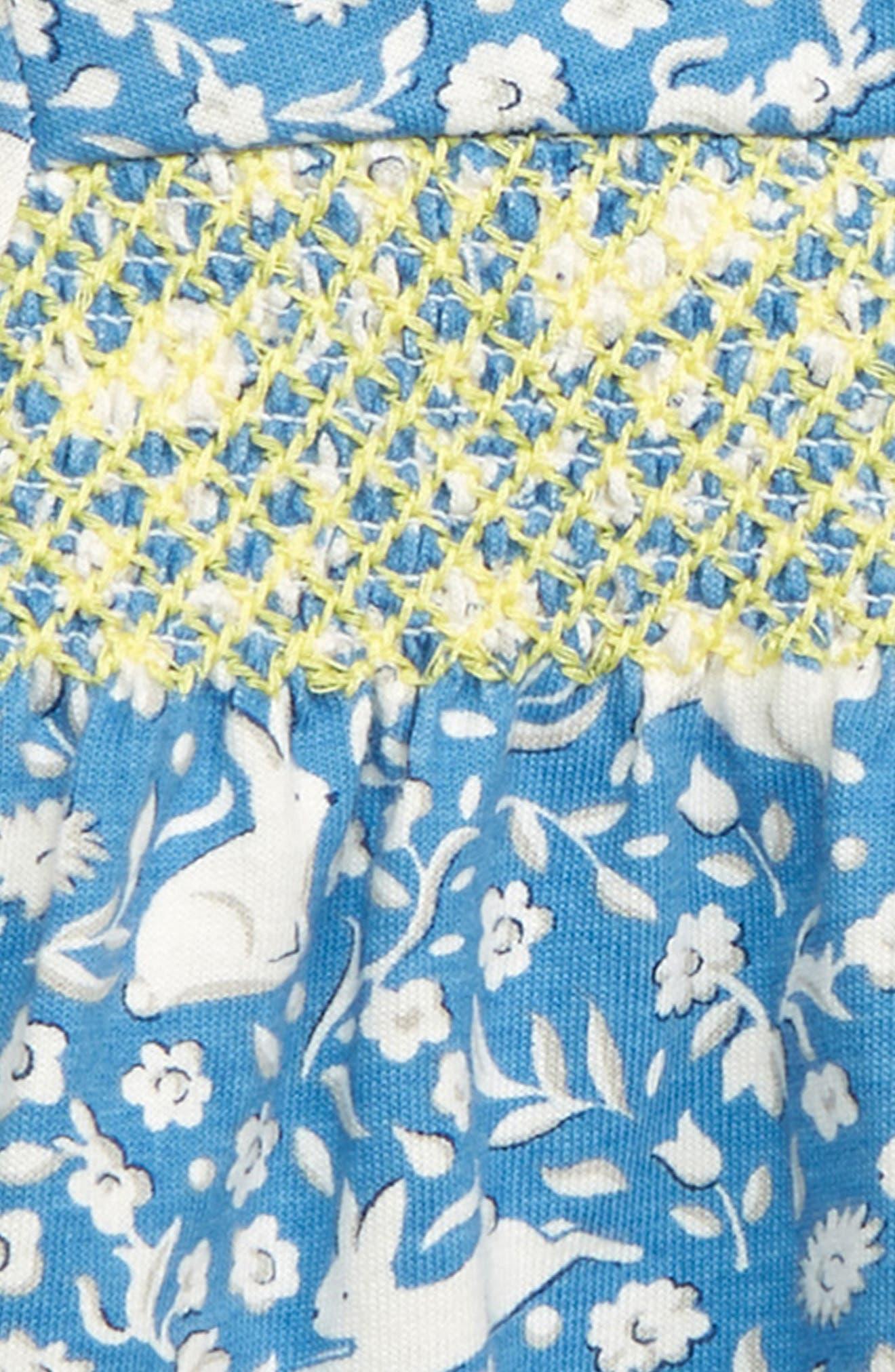MINI BODEN, Pretty Smocked Jersey Dress, Alternate thumbnail 3, color, ELIZABETH BLUE WILD BUNNIES