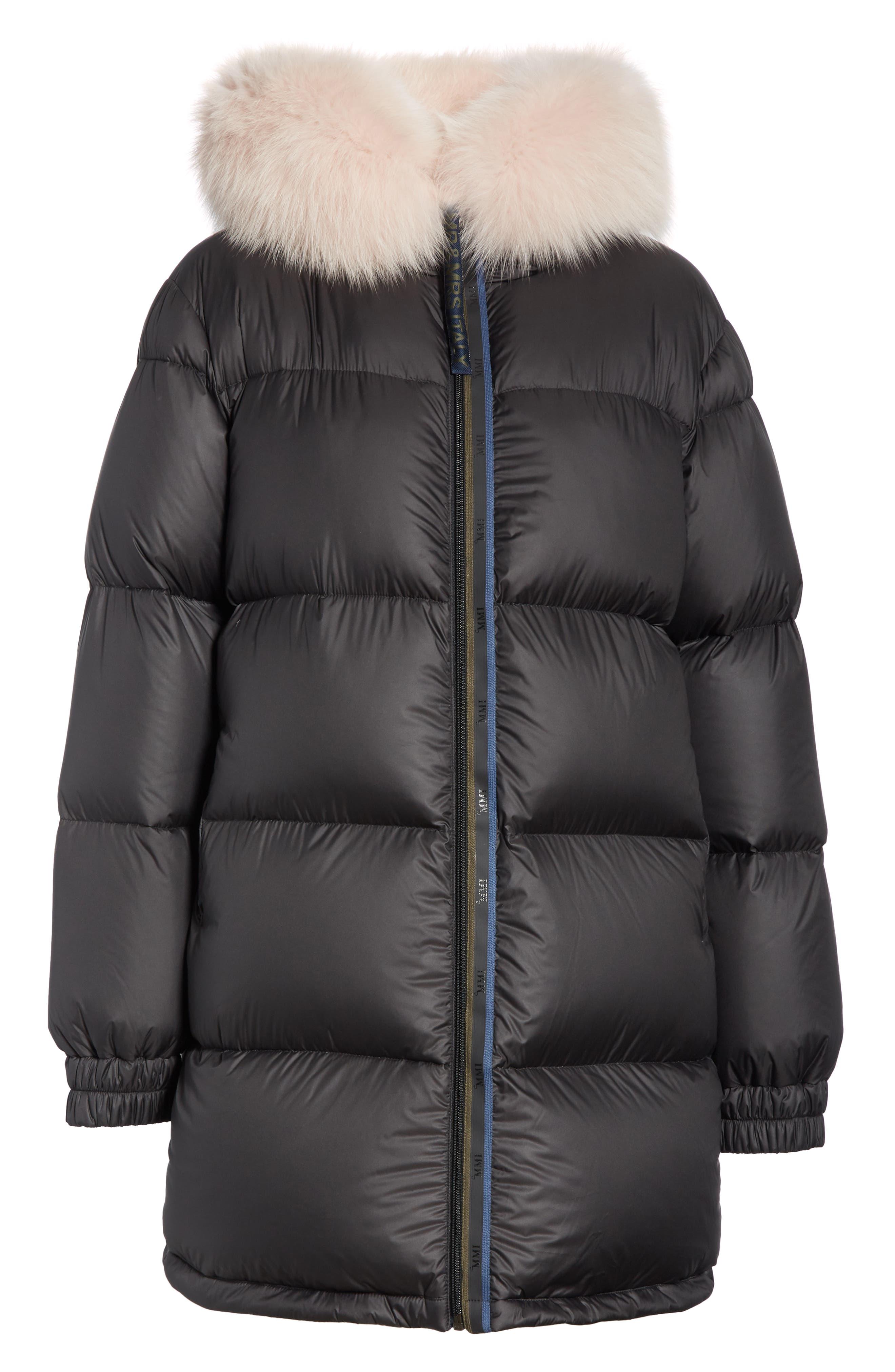 MR & MRS ITALY, Genuine Fox Fur Trim Down Fill Puffer Coat, Alternate thumbnail 7, color, BLACK
