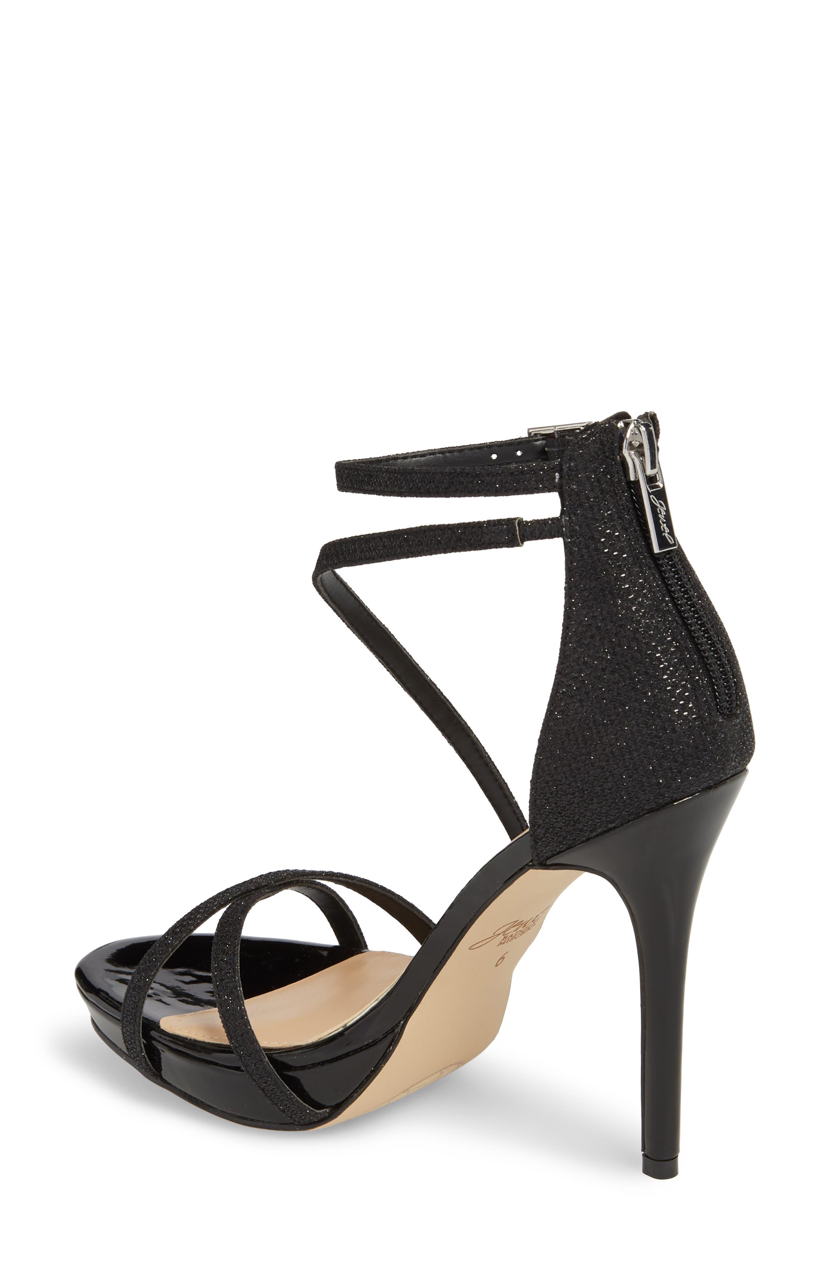 JEWEL BADGLEY MISCHKA, Galen Strappy Platform Sandal, Alternate thumbnail 2, color, BLACK GLITTER FABRIC