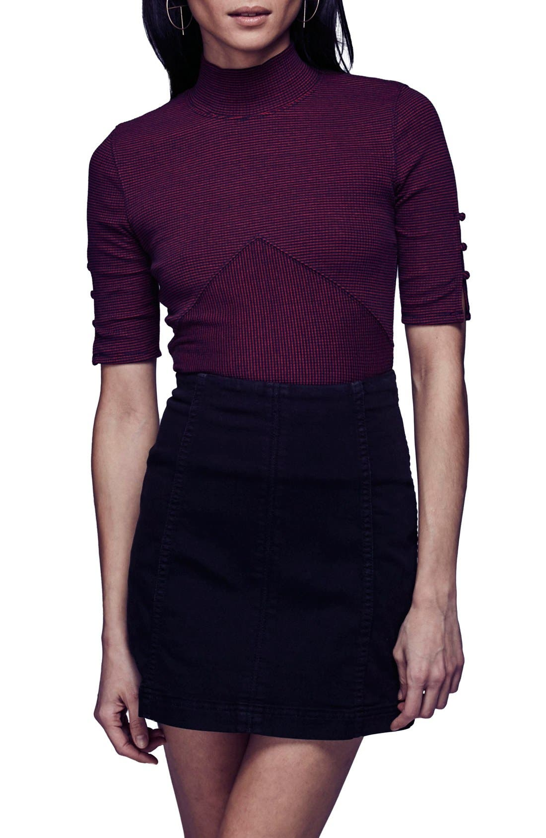FREE PEOPLE, We the Free by Free People Modern Denim Miniskirt, Alternate thumbnail 5, color, 001