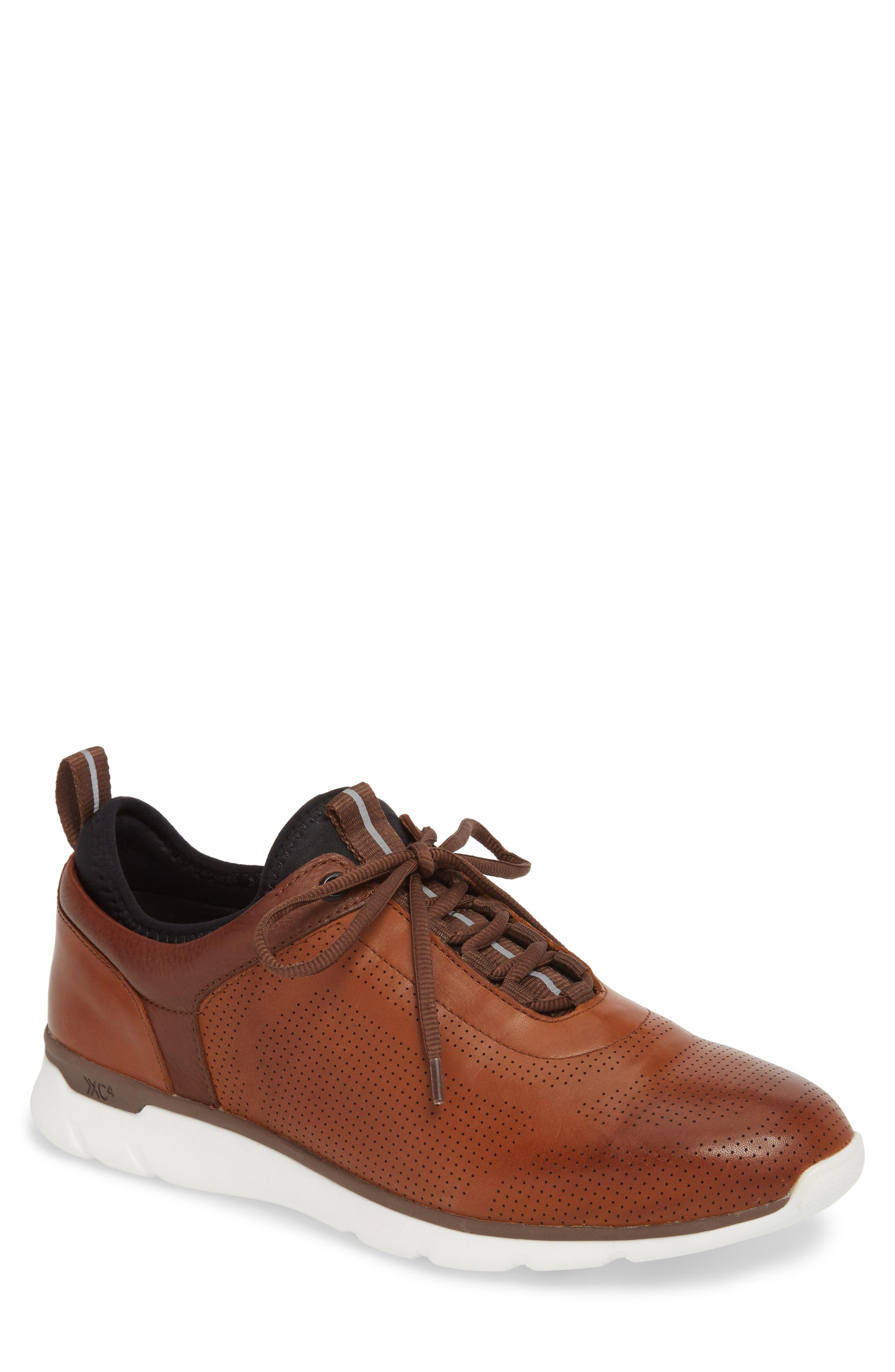 JOHNSTON & MURPHY, Prentiss XC4<sup>®</sup> Waterproof Sneaker, Main thumbnail 1, color, MAHOGANY LEATHER