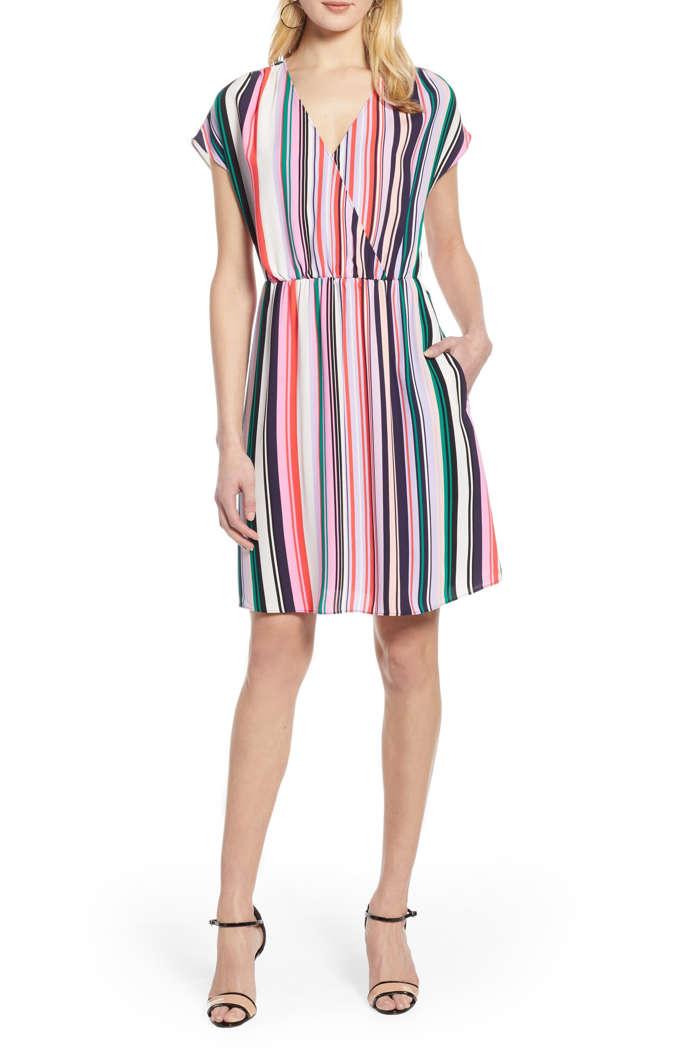 Halogen Faux Wrap Dress, Pink