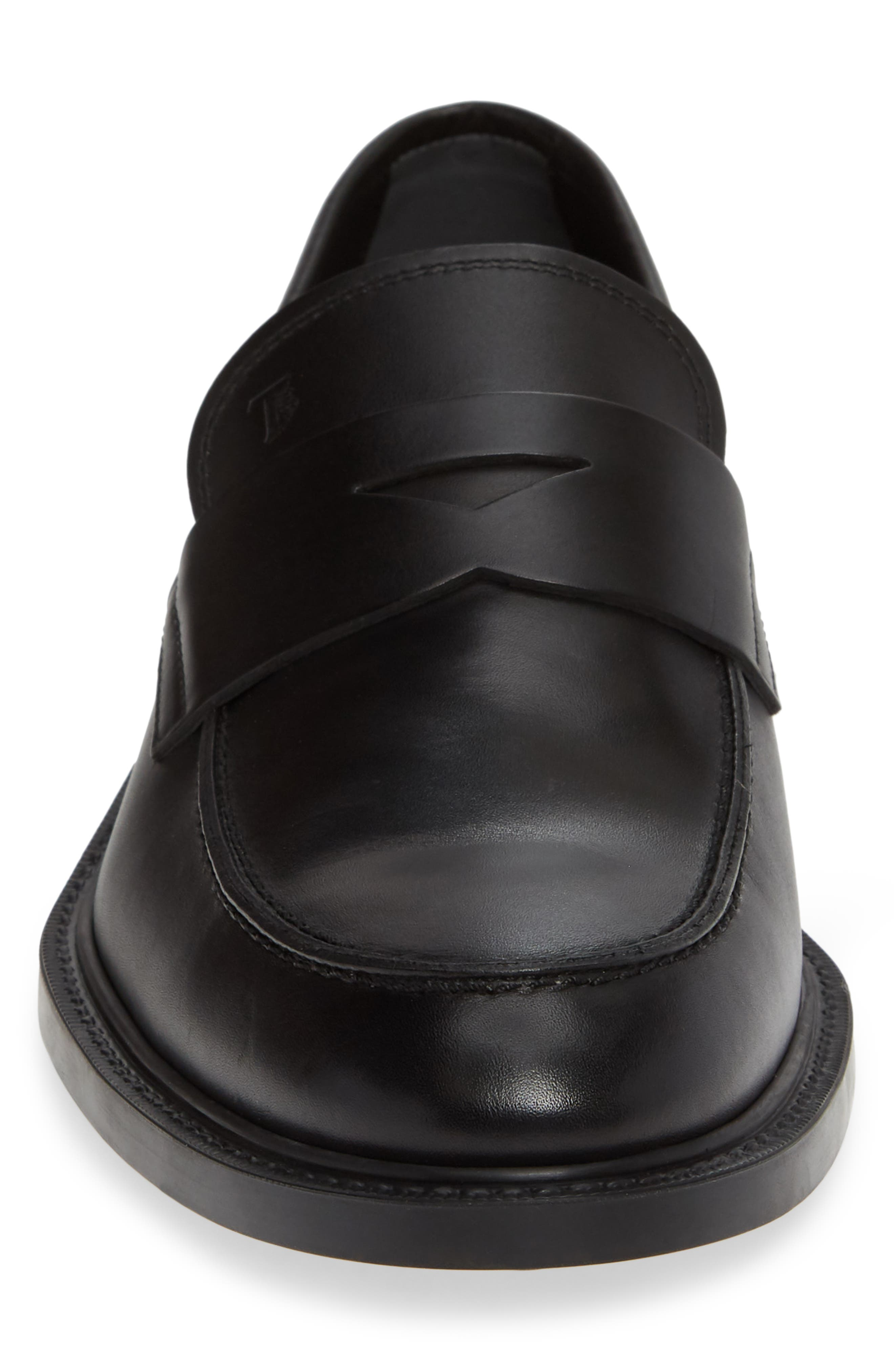 TOD'S, Mocassino Water Repellent Penny Loafer, Alternate thumbnail 4, color, BLACK/ BLACK