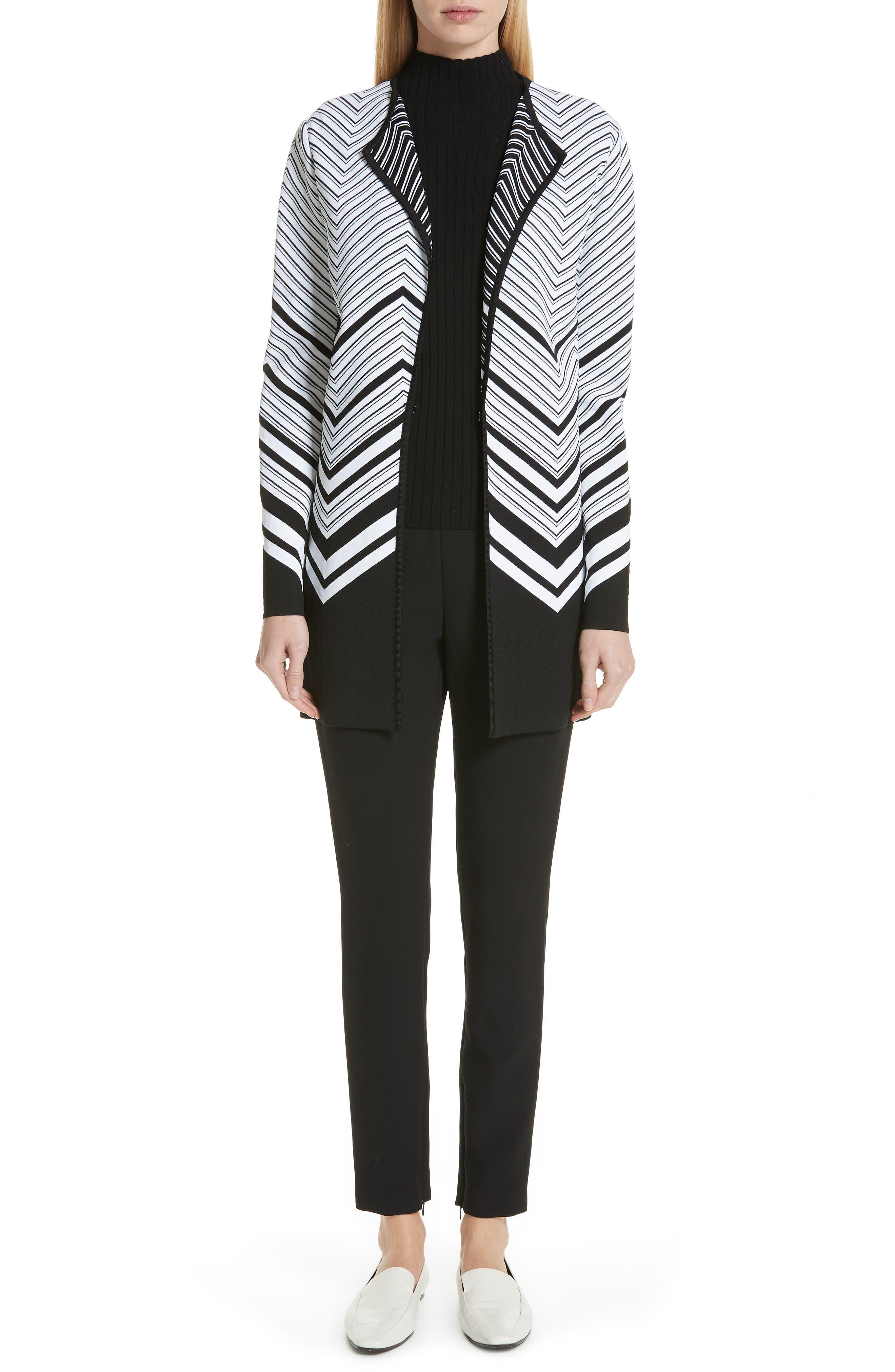 ST. JOHN COLLECTION, Flat Rib Knit Mock Neck Sweater, Alternate thumbnail 6, color, CAVIAR