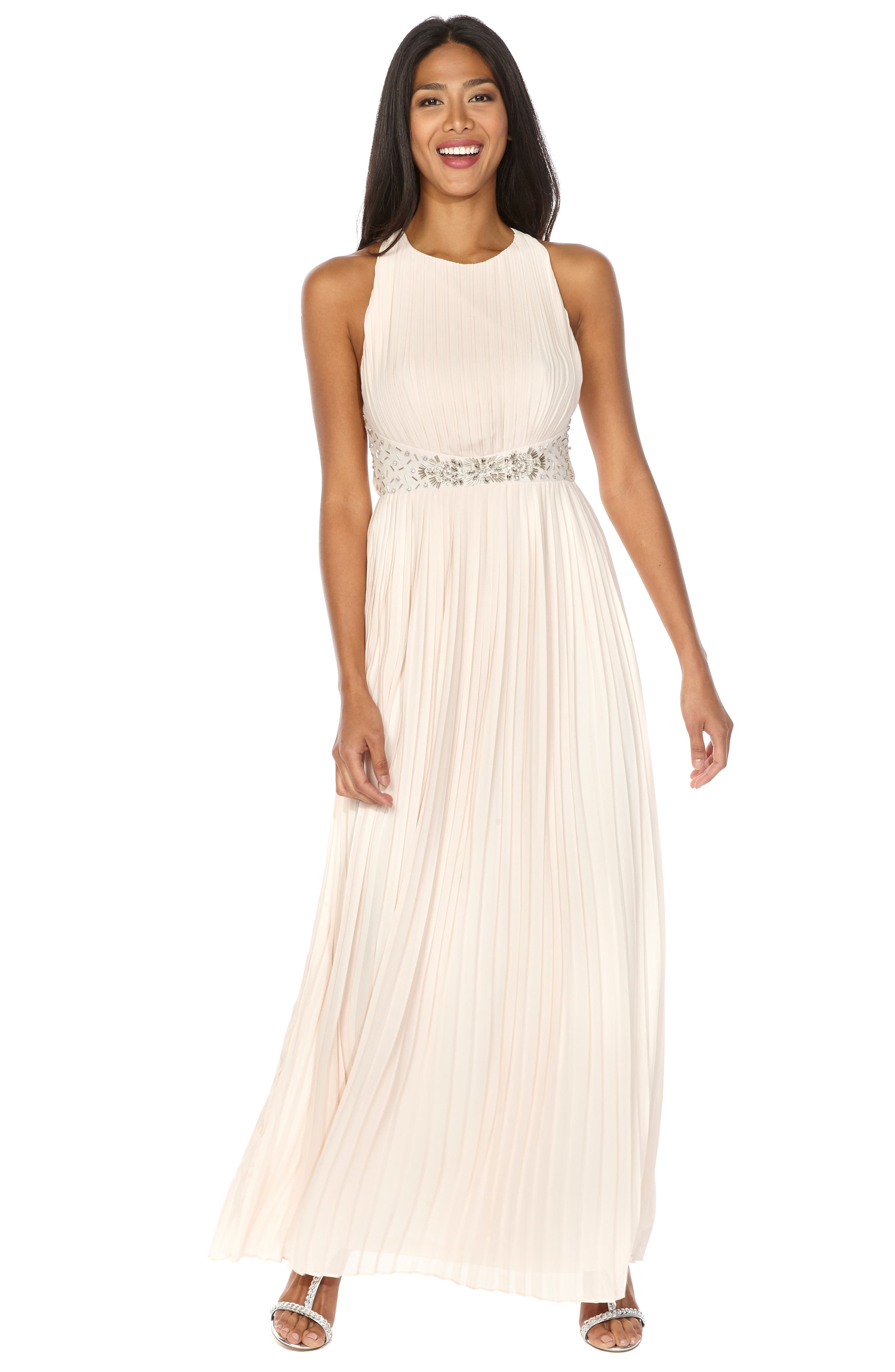 TFNC, Adora Beaded Waist Gown, Alternate thumbnail 4, color, NUDE