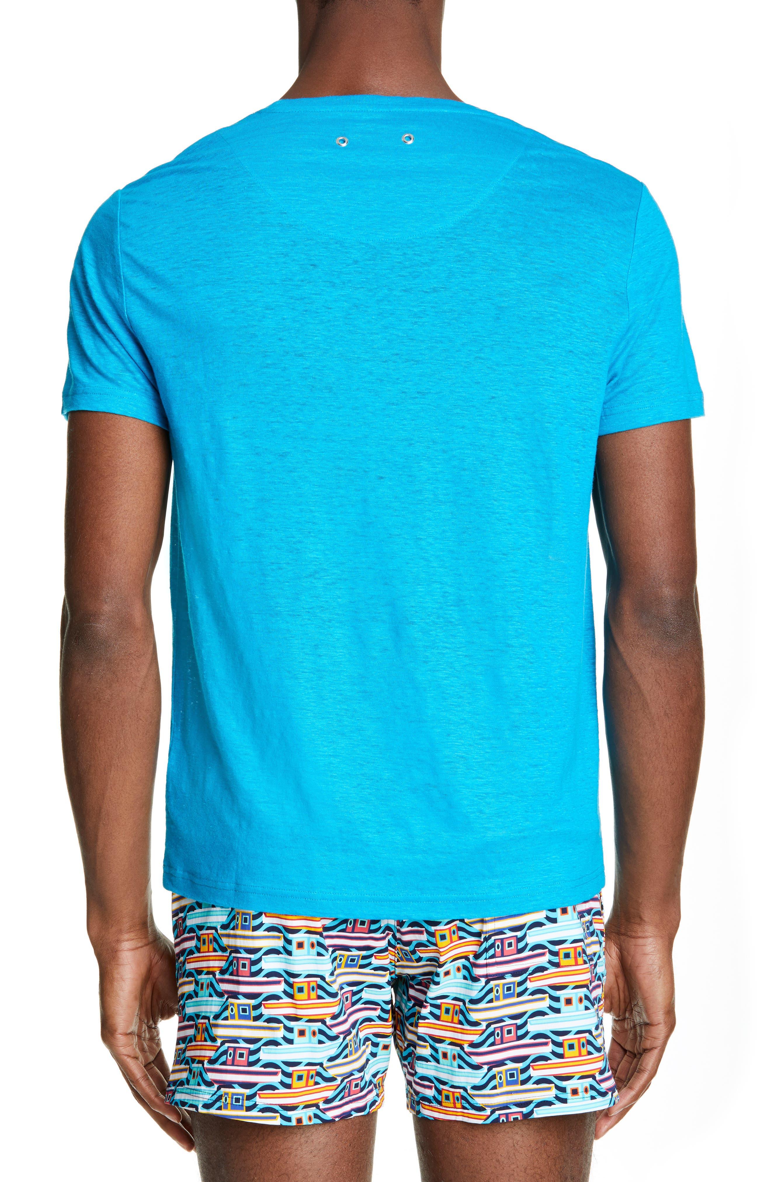 VILEBREQUIN, Linen Jersey T-Shirt, Alternate thumbnail 2, color, SEYCHELLES