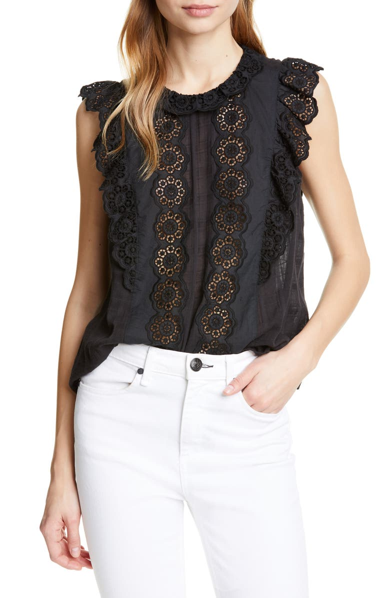 761b76b9356b00 La Vie Rebecca Taylor Lace Detail Sleeveless Cotton Blouse