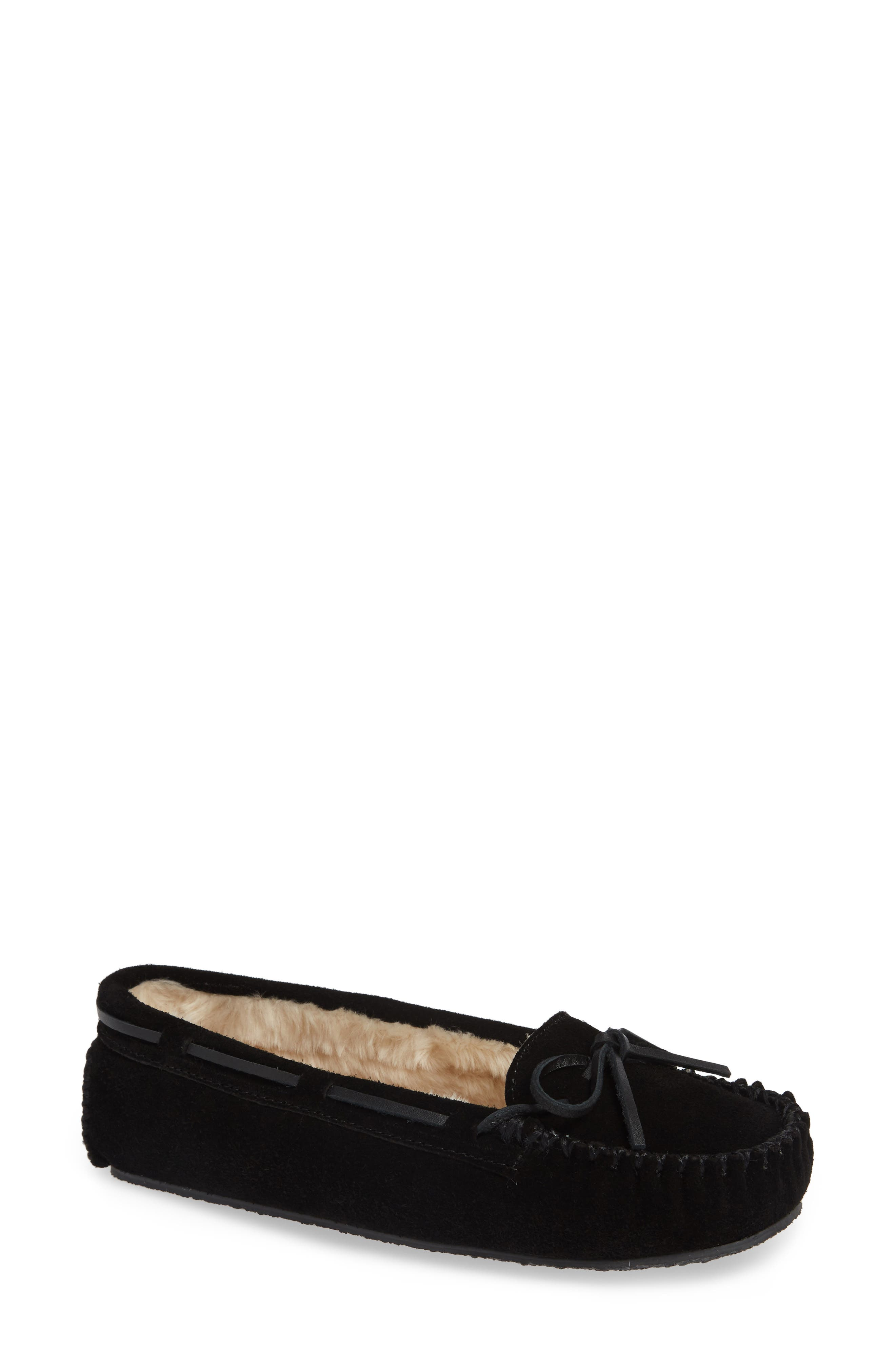MINNETONKA, 'Cally' Slipper, Main thumbnail 1, color, BLACK SUEDE