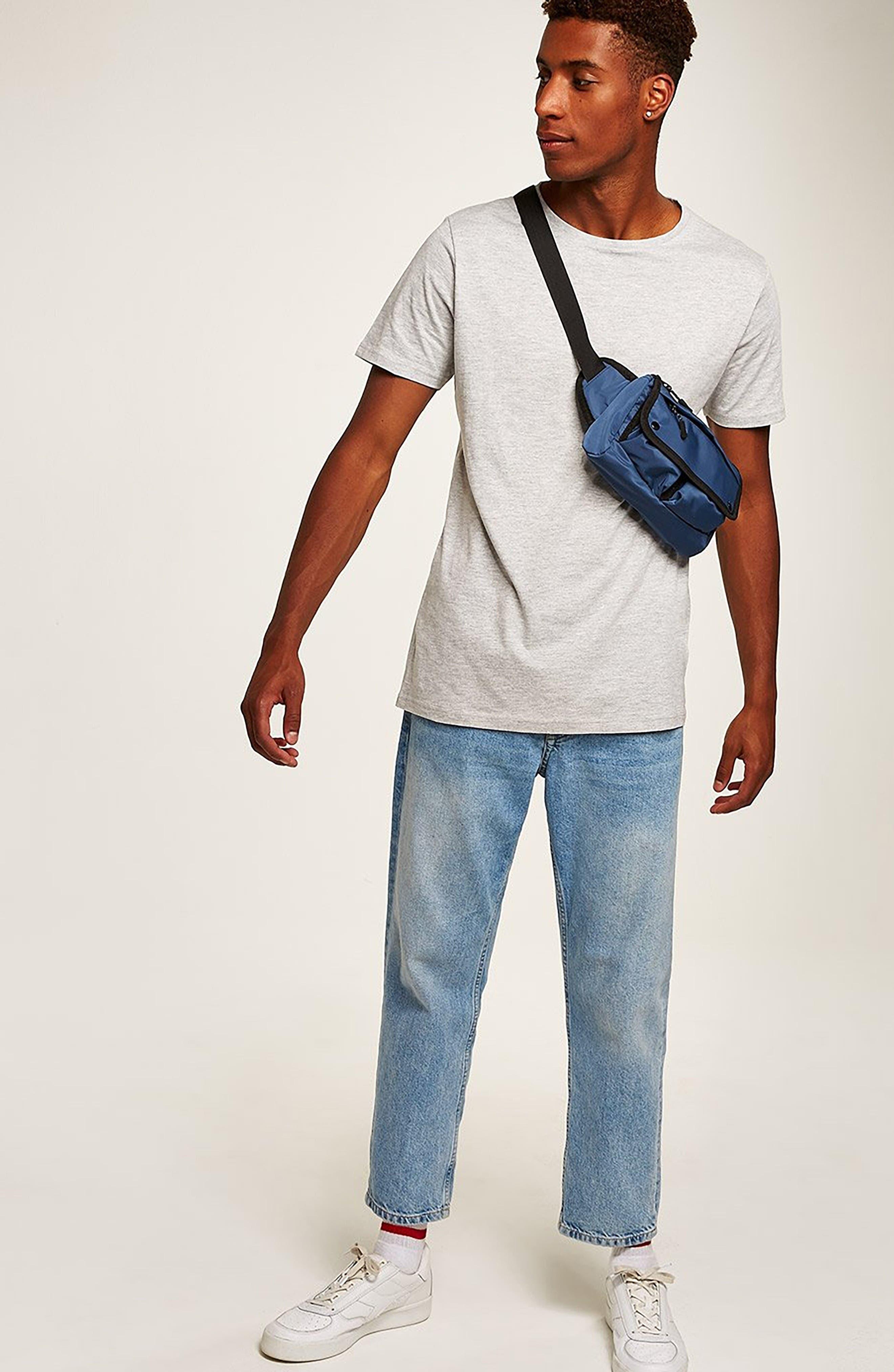 TOPMAN, Longline T-Shirt, Alternate thumbnail 7, color, GREY