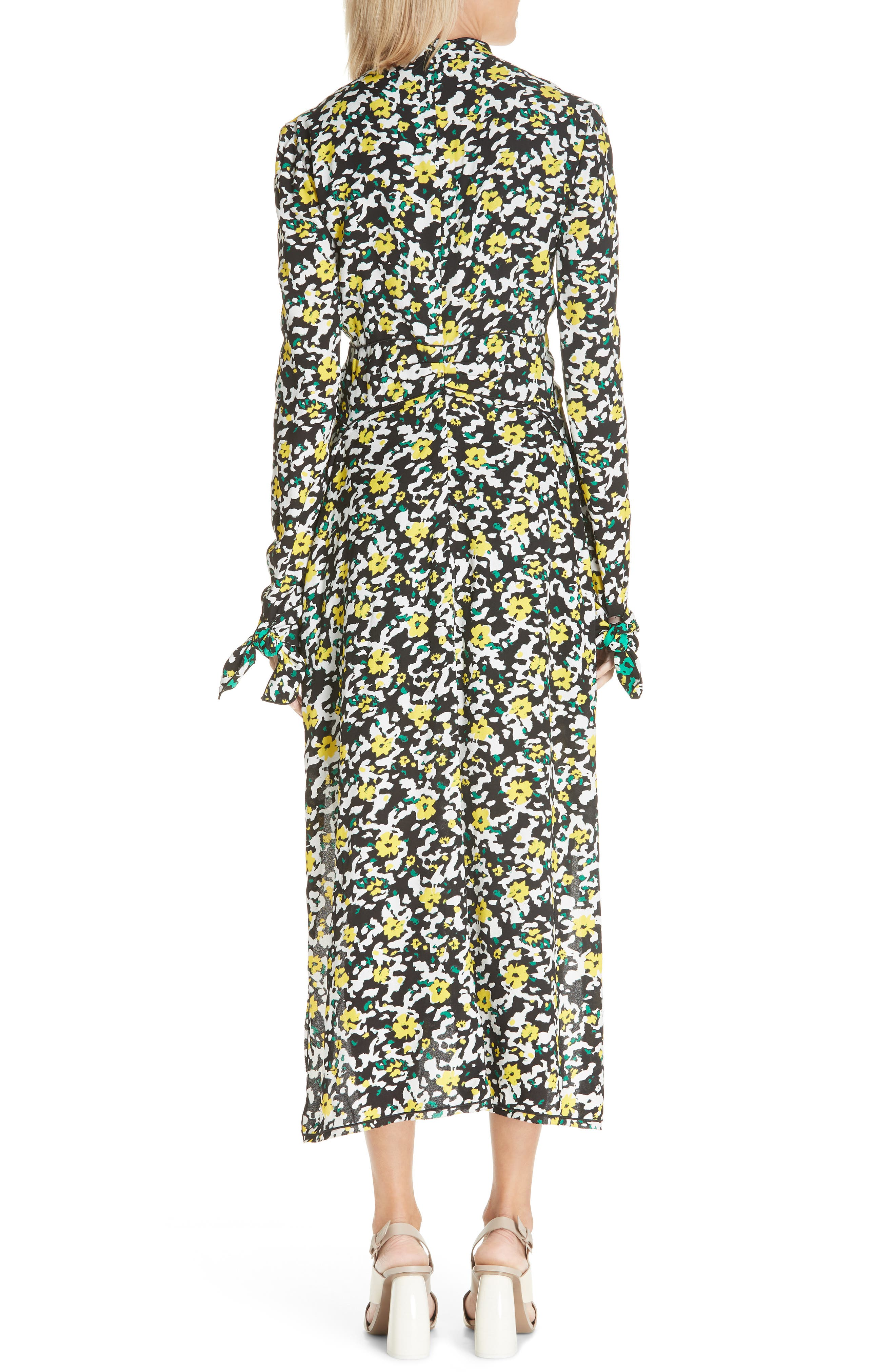 PROENZA SCHOULER, Floral Print Knotted Midi Dress, Alternate thumbnail 2, color, WHITE WILDFLOWER