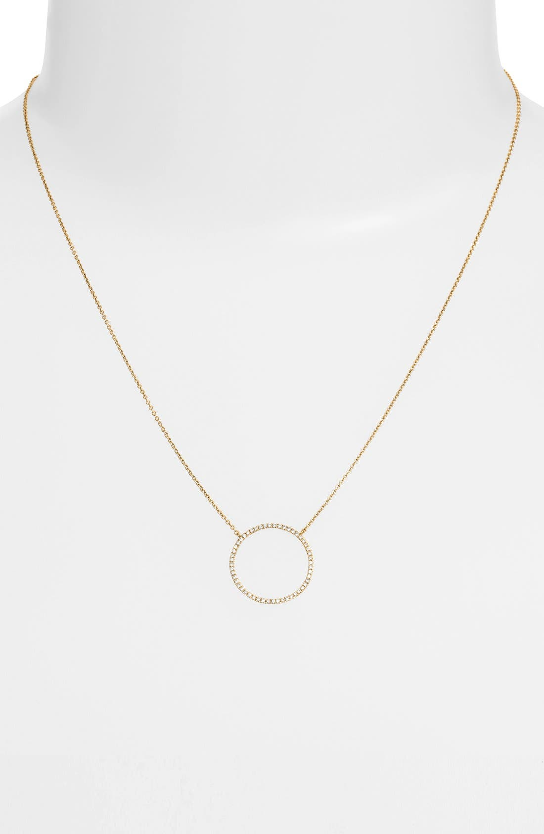 BONY LEVY, Simple Obsessions Circle Pendant Necklace, Alternate thumbnail 2, color, YELLOW GOLD