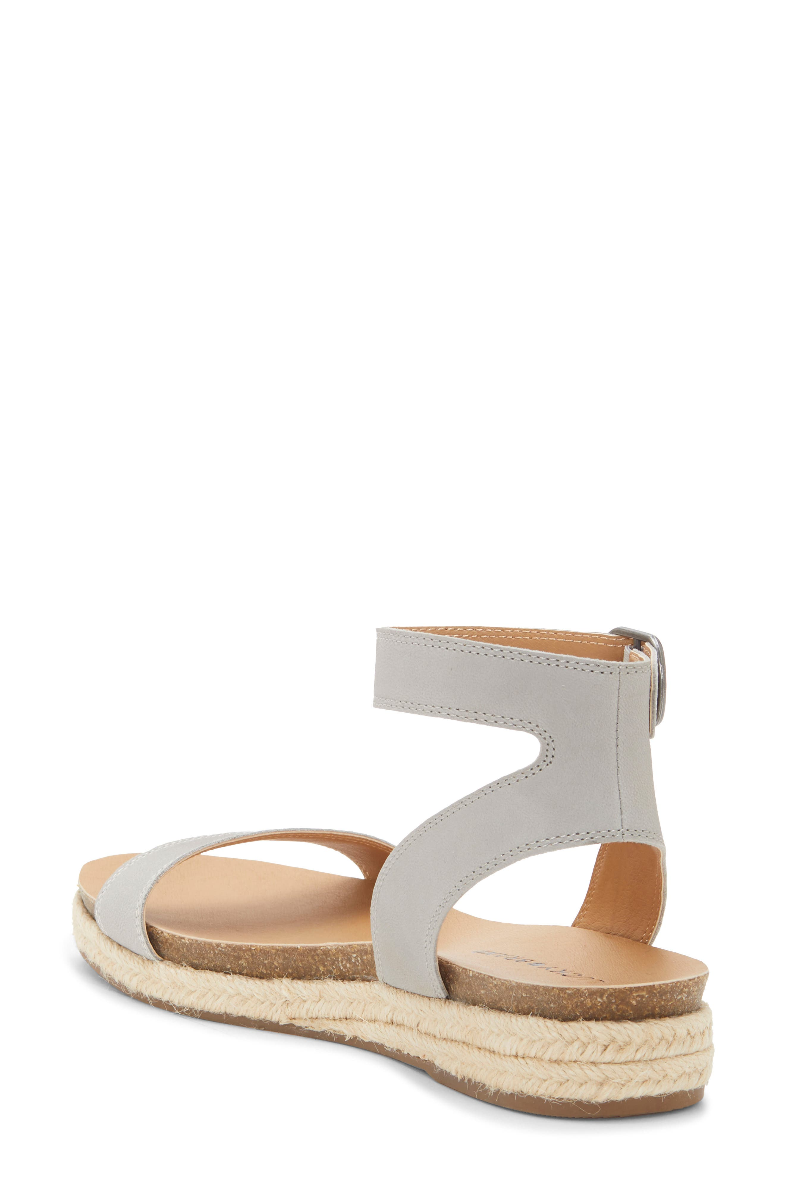 LUCKY BRAND, Garston Espadrille Sandal, Alternate thumbnail 2, color, CHINCHILLA LEATHER