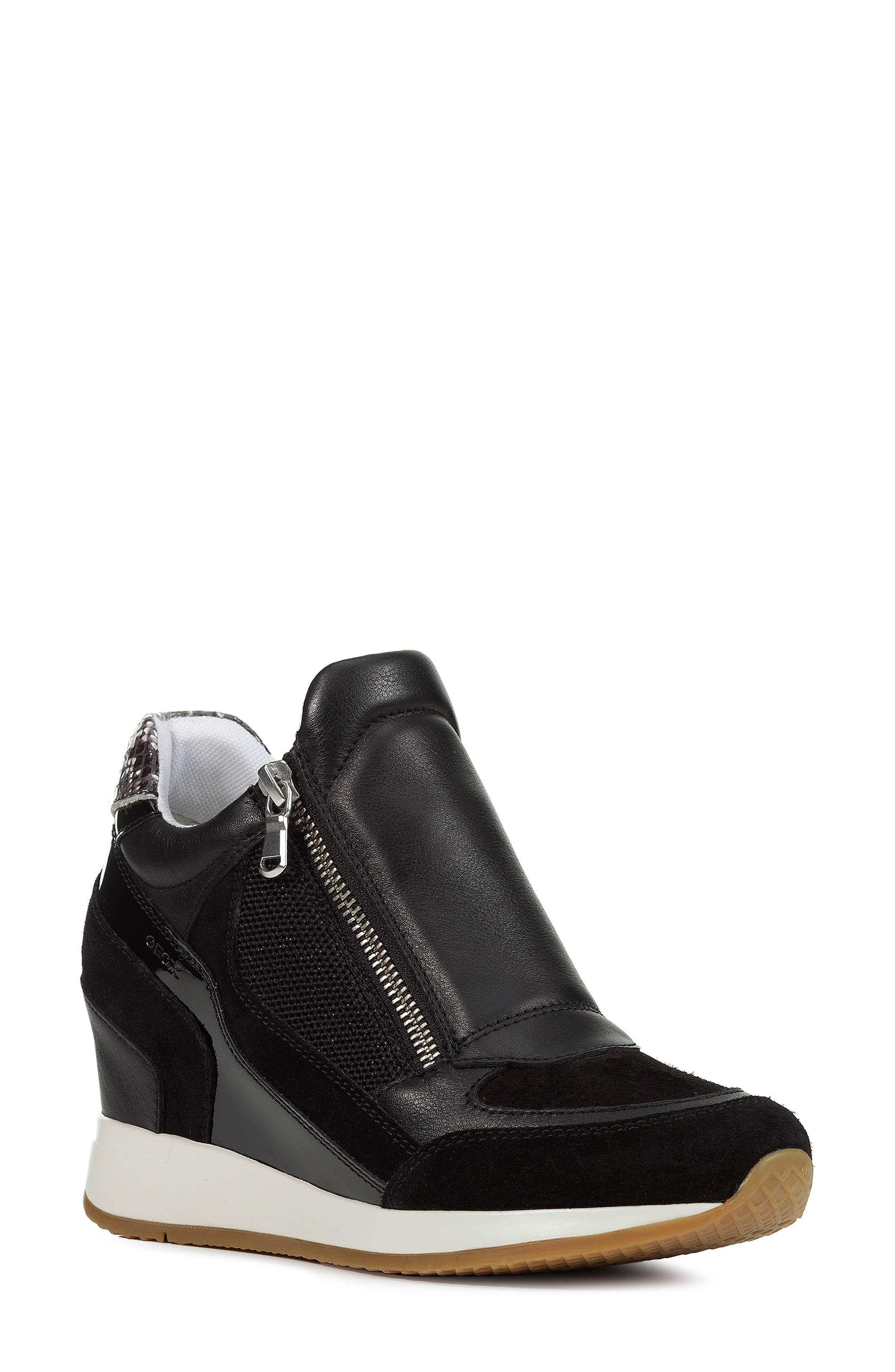 GEOX, Nydame Wedge Sneaker, Main thumbnail 1, color, BLACK/ BLACK LEATHER