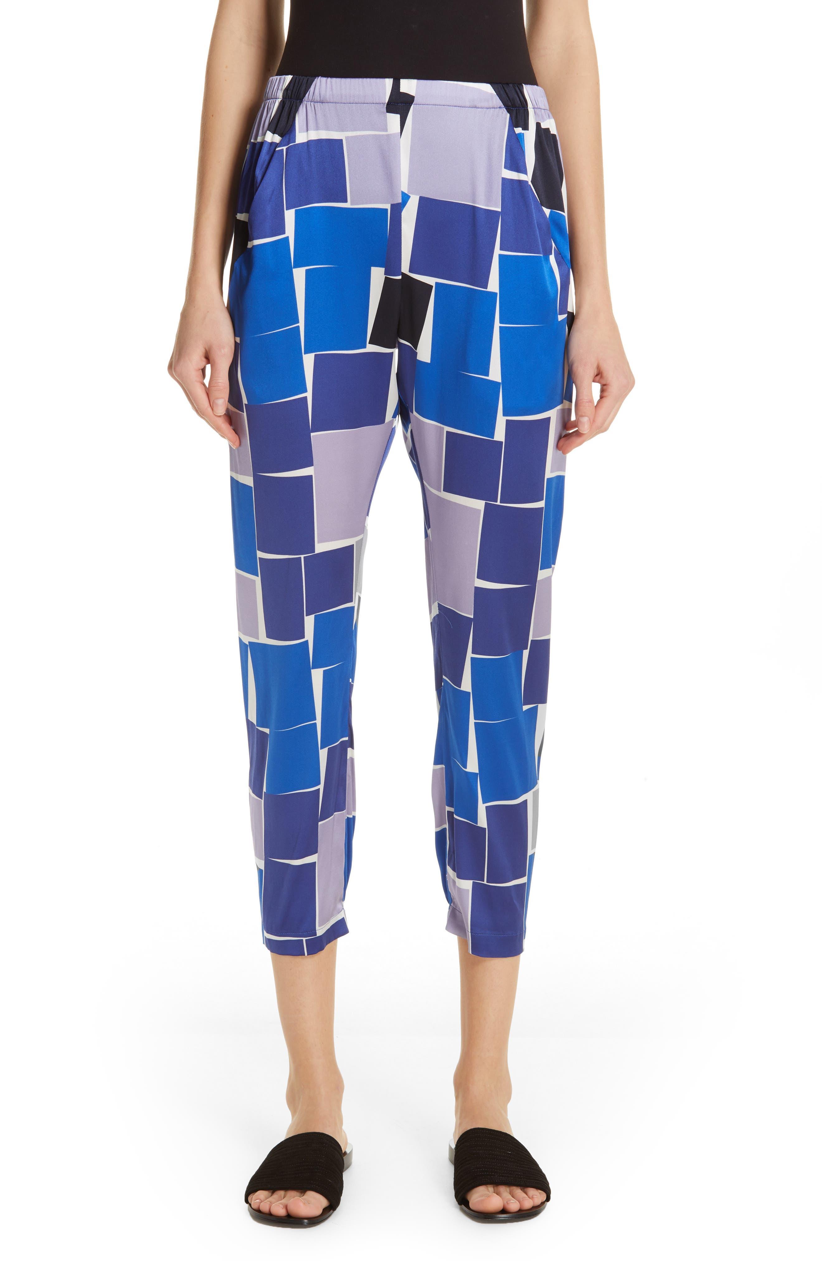ZERO + MARIA CORNEJO Gabi Print Stretch Silk Trousers, Main, color, DUSK MULTI