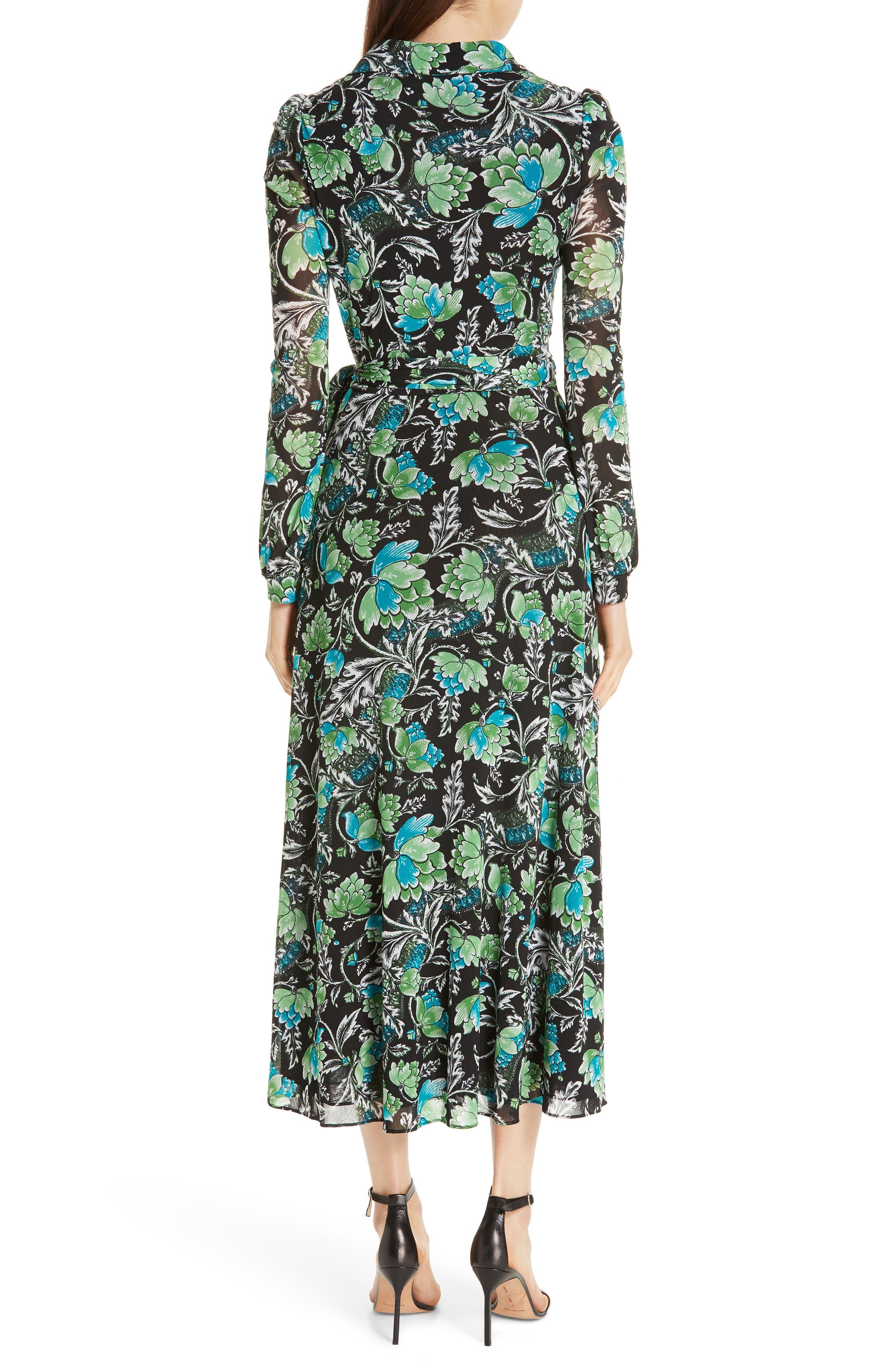DVF, Phoenix Floral Print Wrap Dress, Alternate thumbnail 2, color, 001