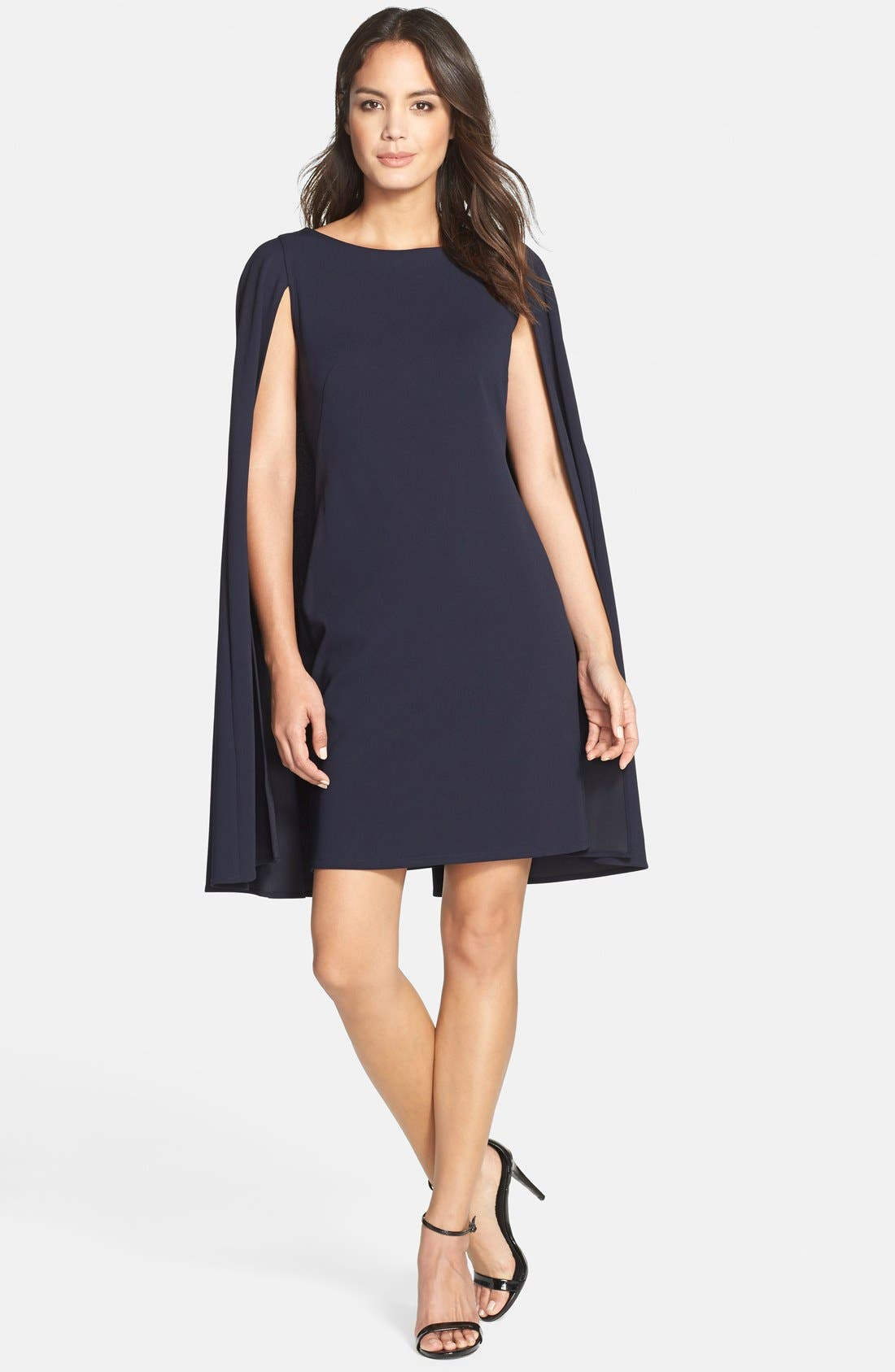 ADRIANNA PAPELL, Cape Sheath Dress, Alternate thumbnail 4, color, 412