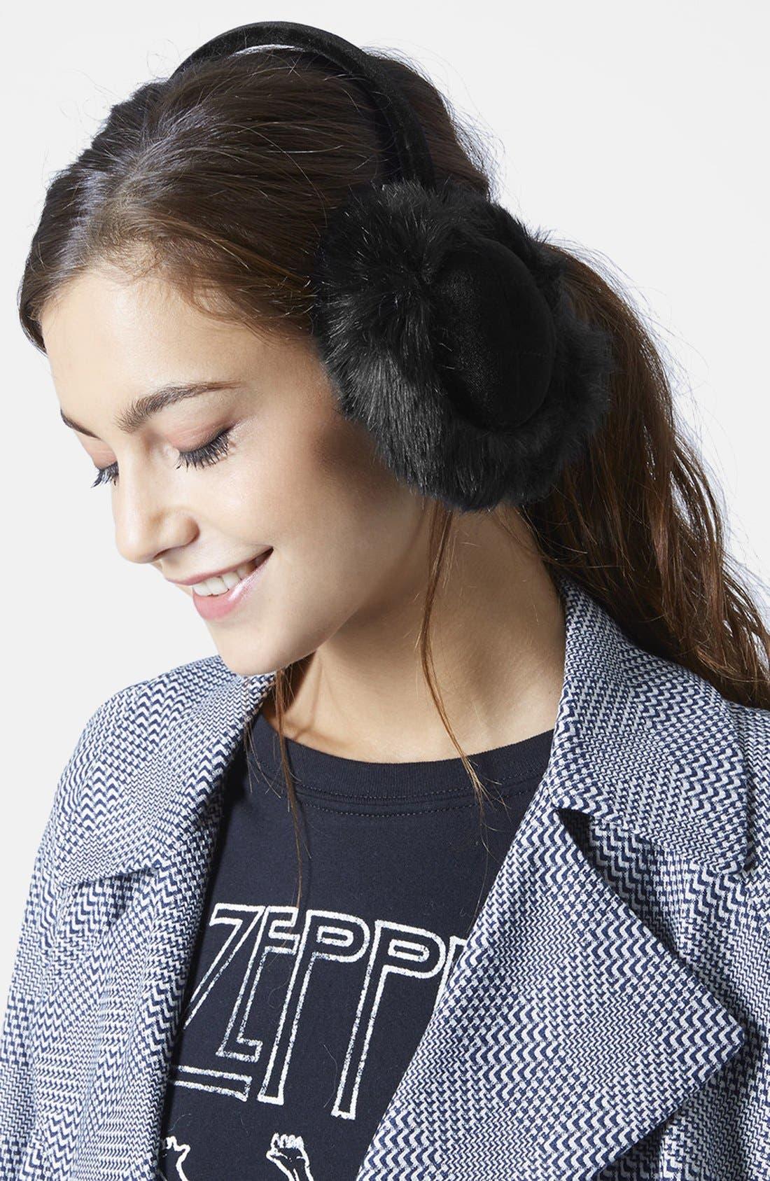 TOPSHOP, 'Core' Faux Fur Earmuffs, Alternate thumbnail 2, color, 001