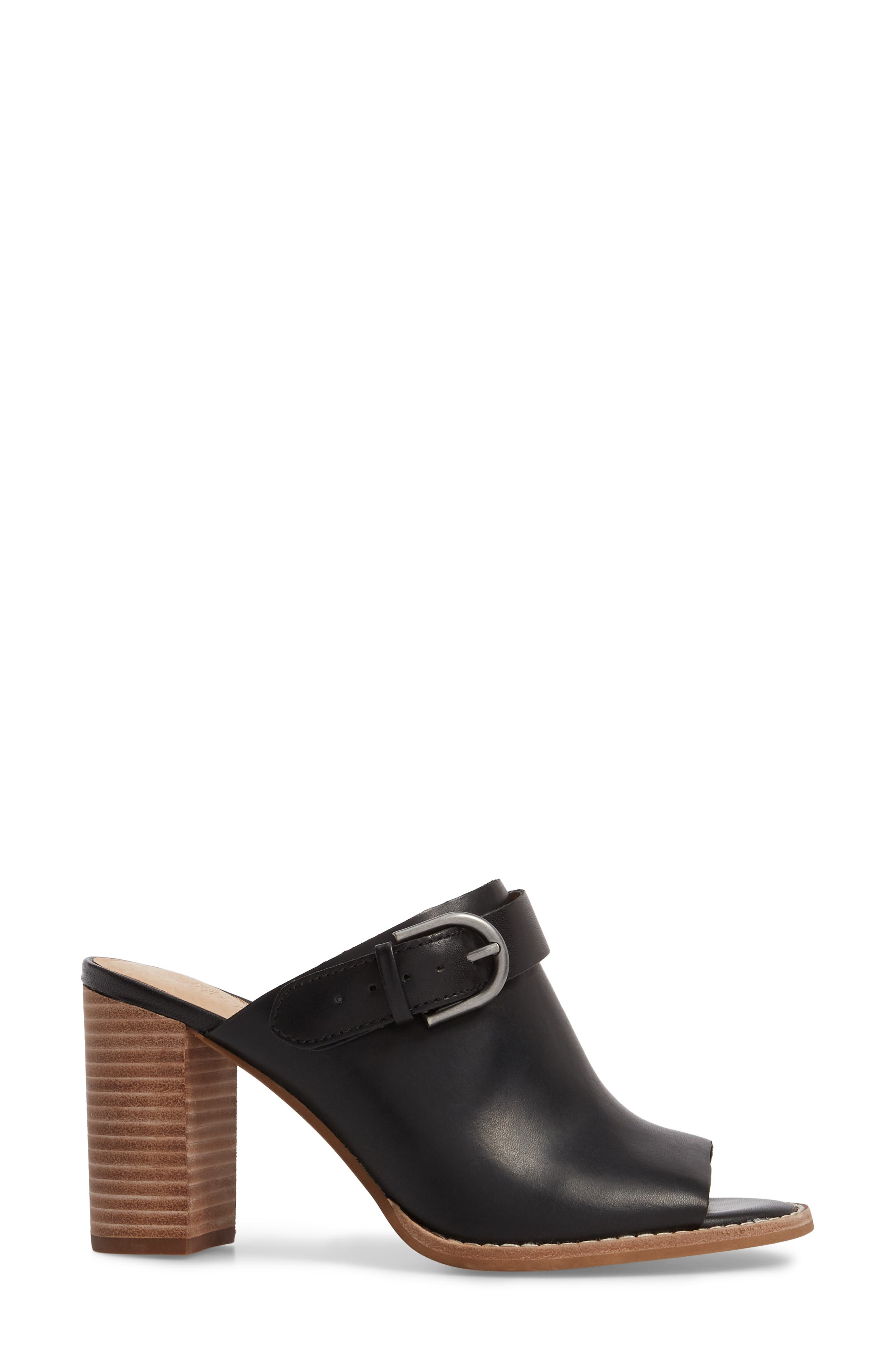 MADEWELL, Riley Slingback Mule, Alternate thumbnail 3, color, TRUE BLACK LEATHER