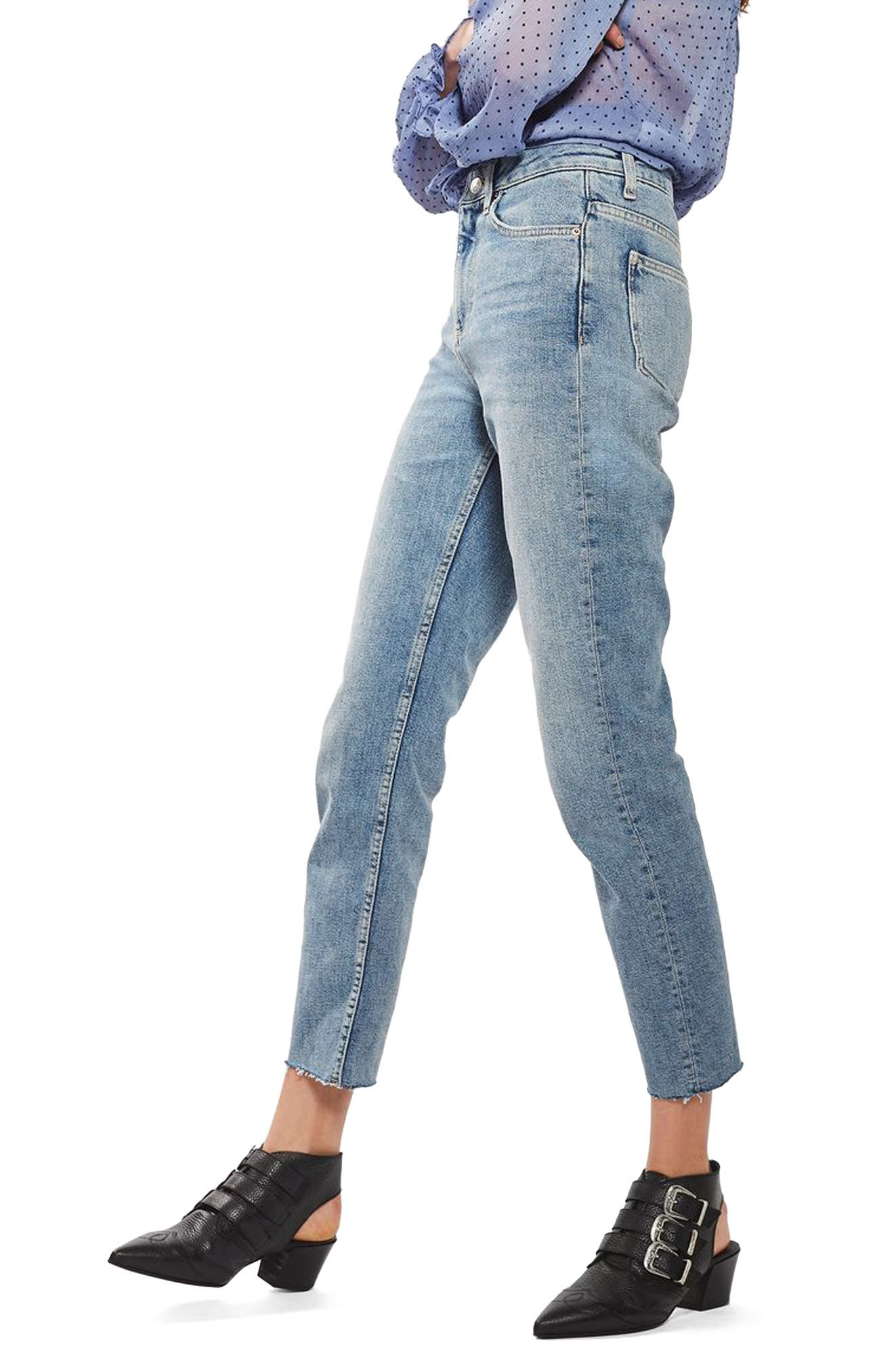 TOPSHOP, Moto Raw Hem Straight Leg Jeans, Alternate thumbnail 3, color, 420