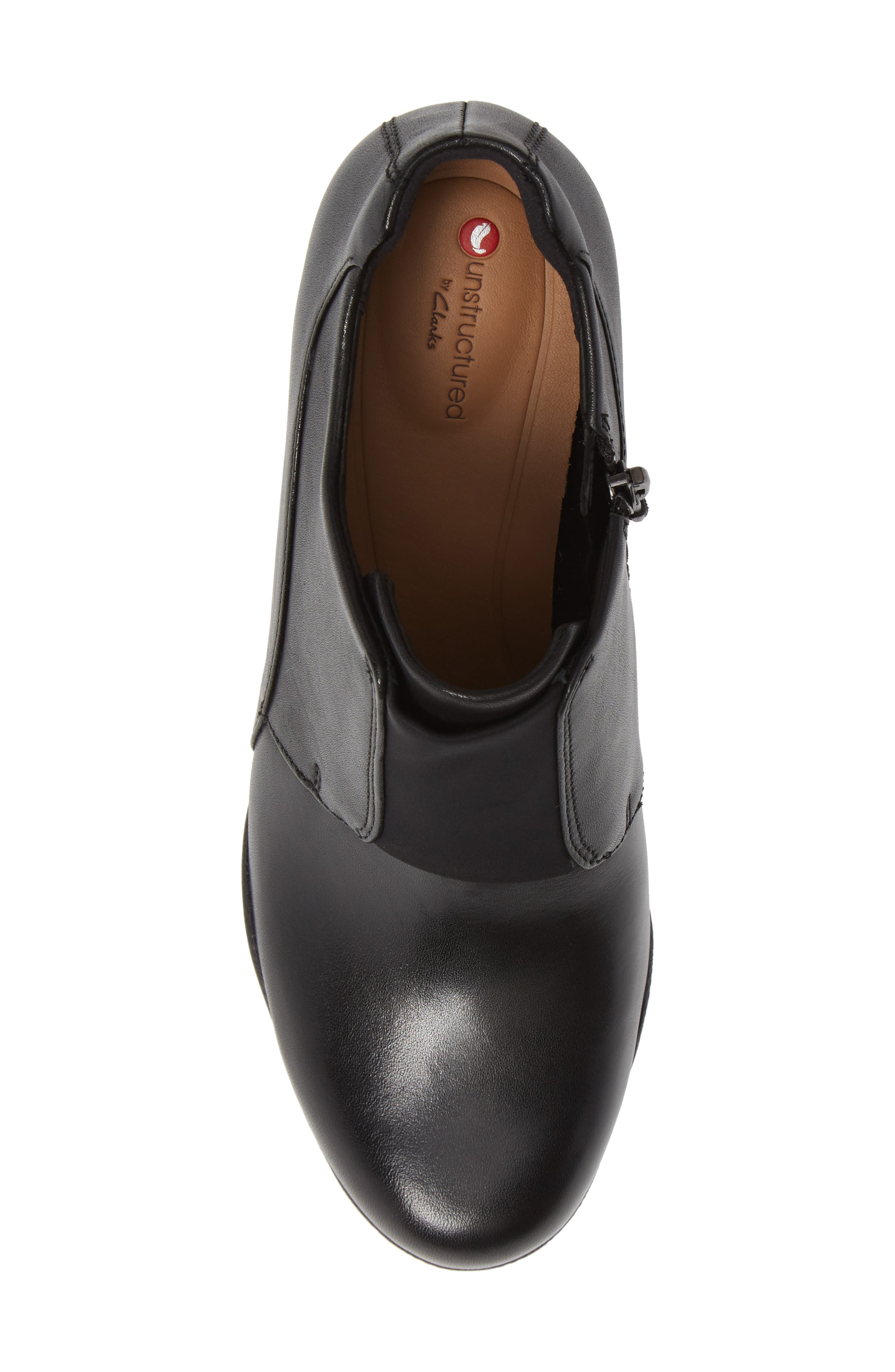 CLARKS<SUP>®</SUP>, Un Rosa Zip Bootie, Alternate thumbnail 5, color, BLACK LEATHER